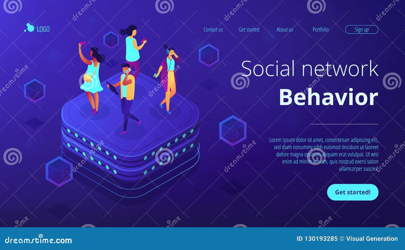 Social network behavior isometric 3D landing page.