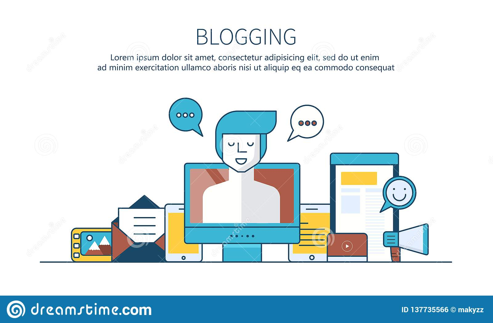 Writing a story or column for newspaper or magazine. Outline concept. Blogging concept.