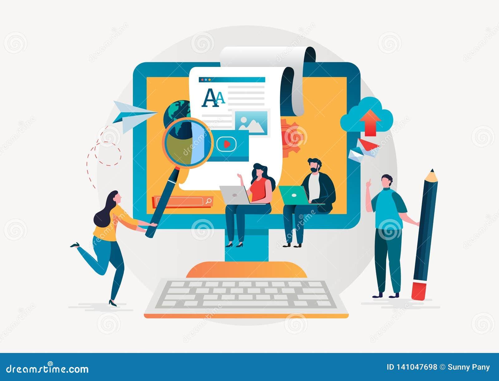 Blogging blogger frilans idérik writing Kopieringsförfattare content administration Design för tecken för plan vektorillustration