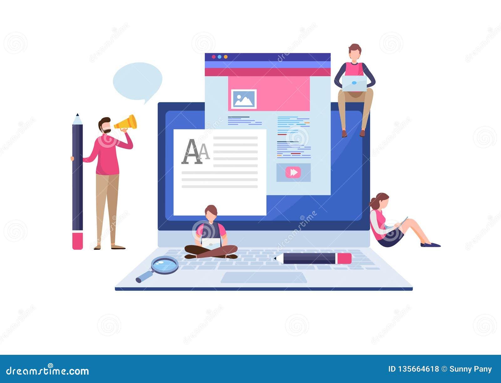 Blogging blogger frilans idérik writing Kopieringsförfattare content administration Miniatyrillustrationvektor för plan tecknad f