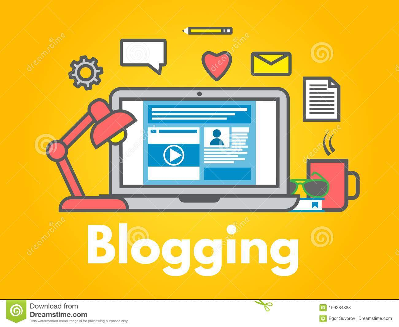 Blogging concept on yellow background. Laptop with icons. Social media sharing. Blog post flat line style. Business design. Trendy