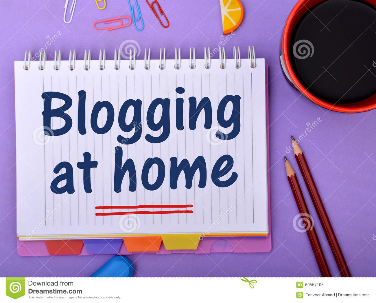 Blogging at home design with notepad