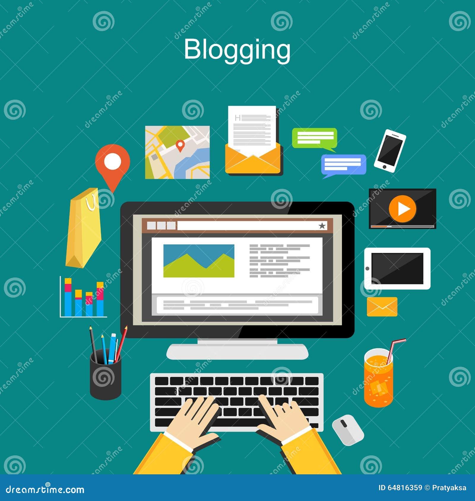 Blogging illustration concept. Internet Content.