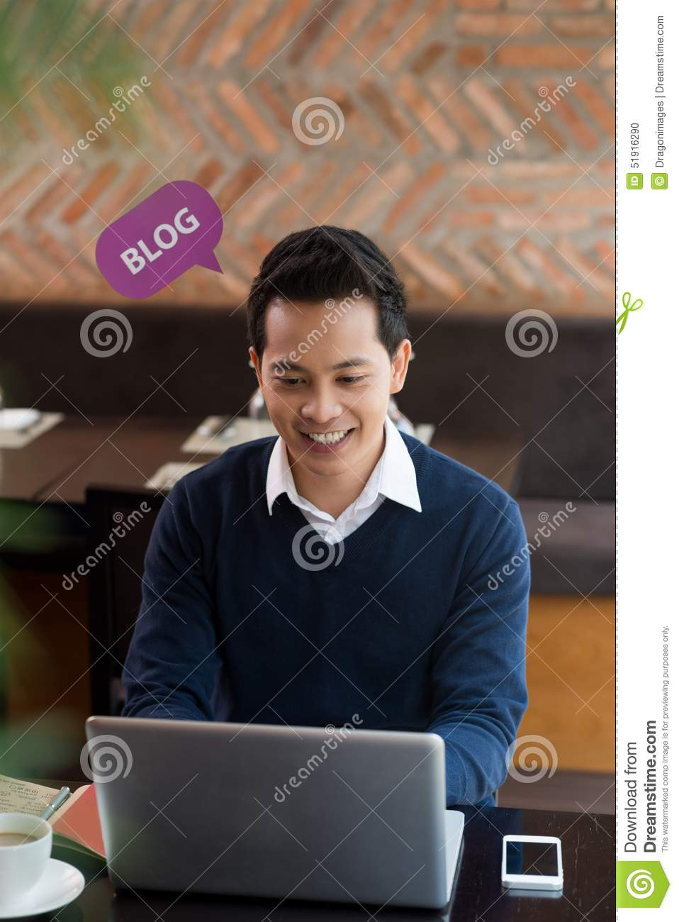 Download Blogging via laptop stock photo. Image of businessman - 51916290