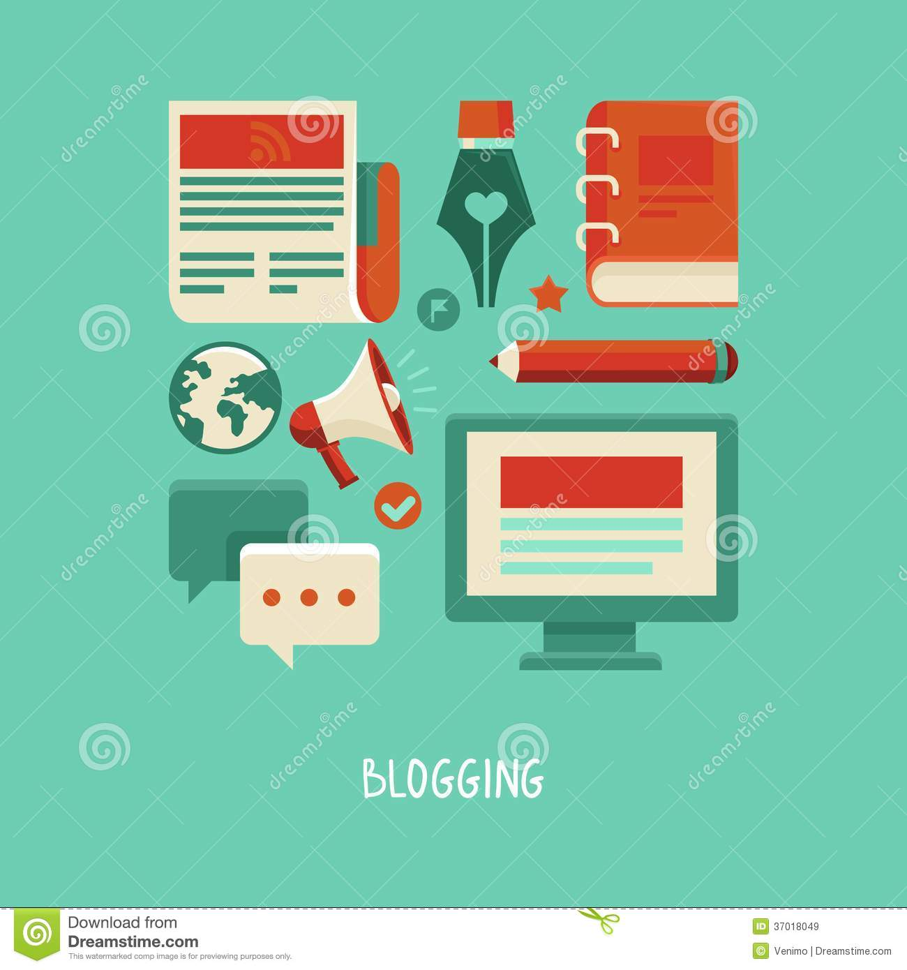Blogging and writing - flat icons