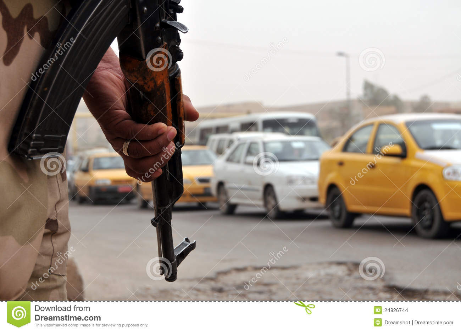 Blokada drogi irakijski żołnierz