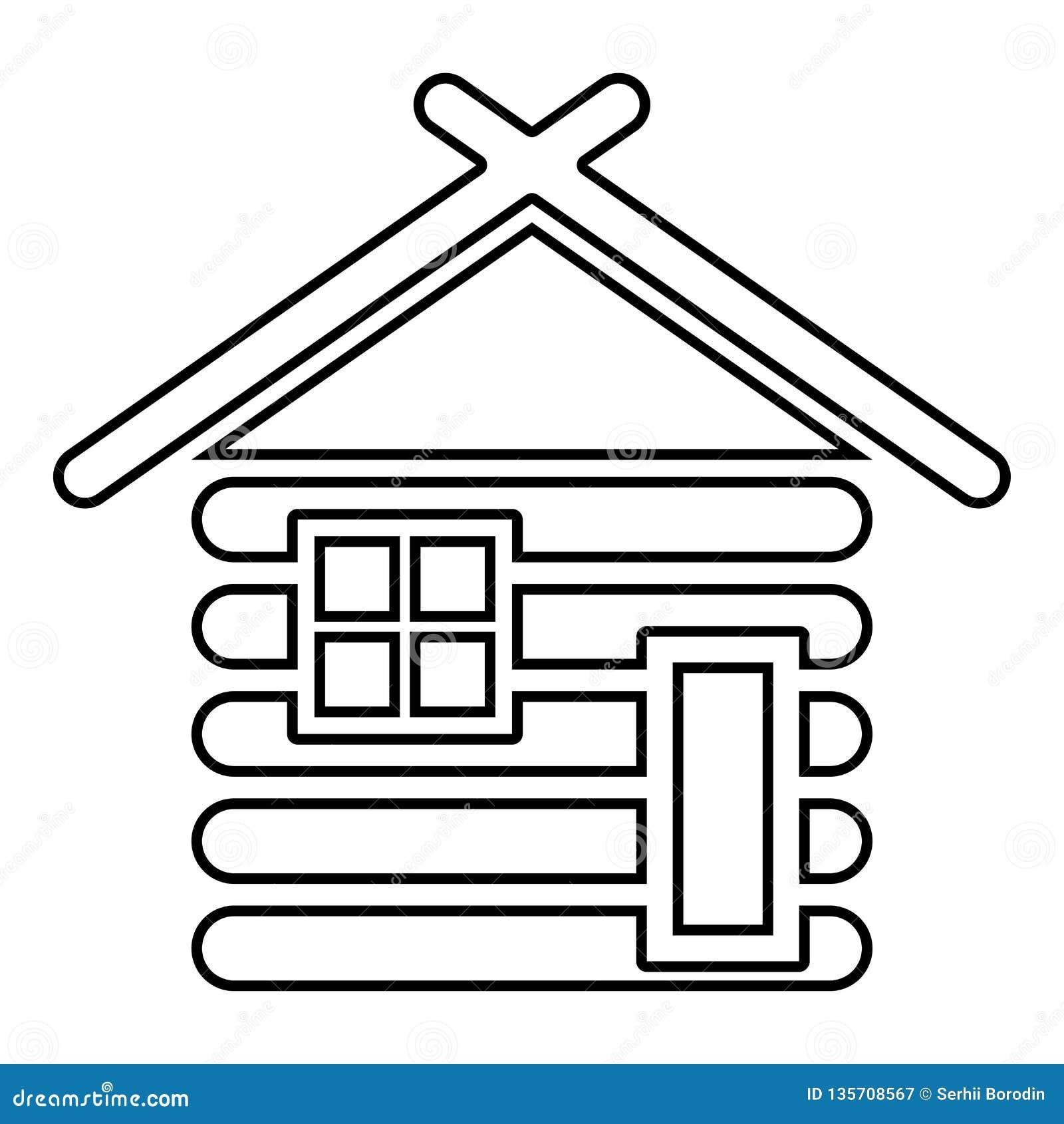 Blokhuisschuur met houten Modulair van het de huizenpictogram van de blokhuizen Houten cabine modulair van de de kleuren vectoril