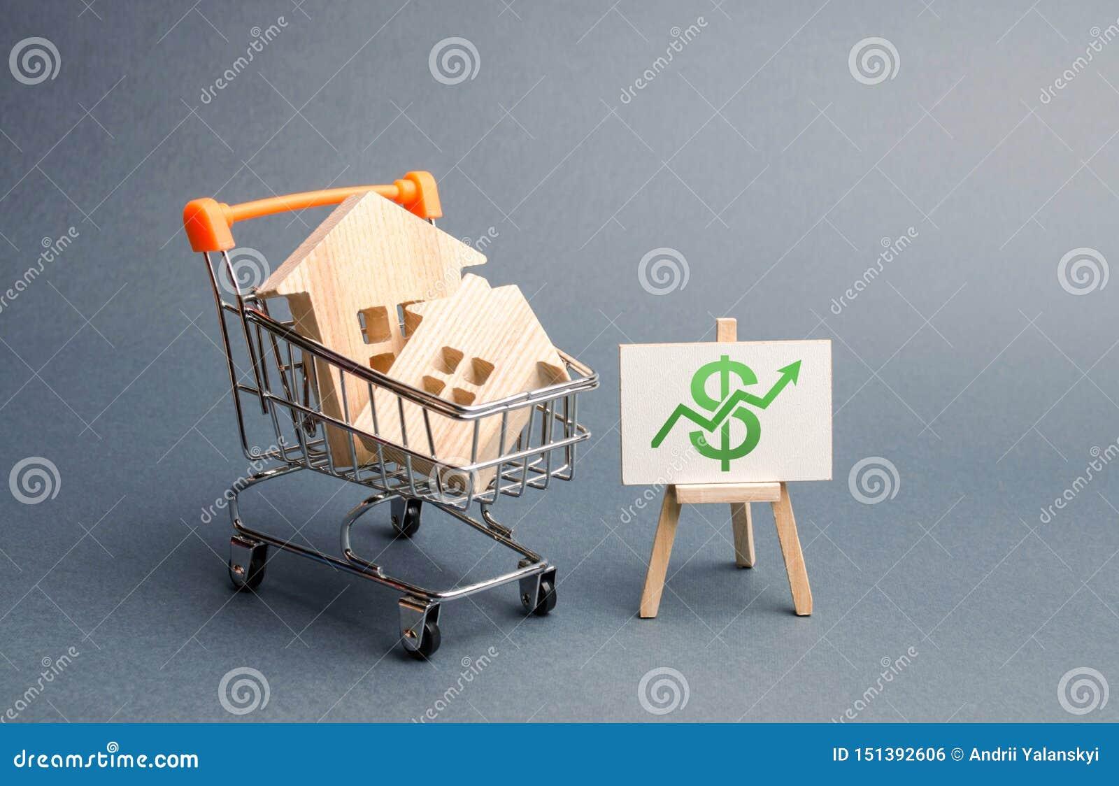 Blokhuizen in een handelkar en een groene pijl omhoog Verhogend de kosten en de vloeibaarheid van onroerende goederen Het aantrek