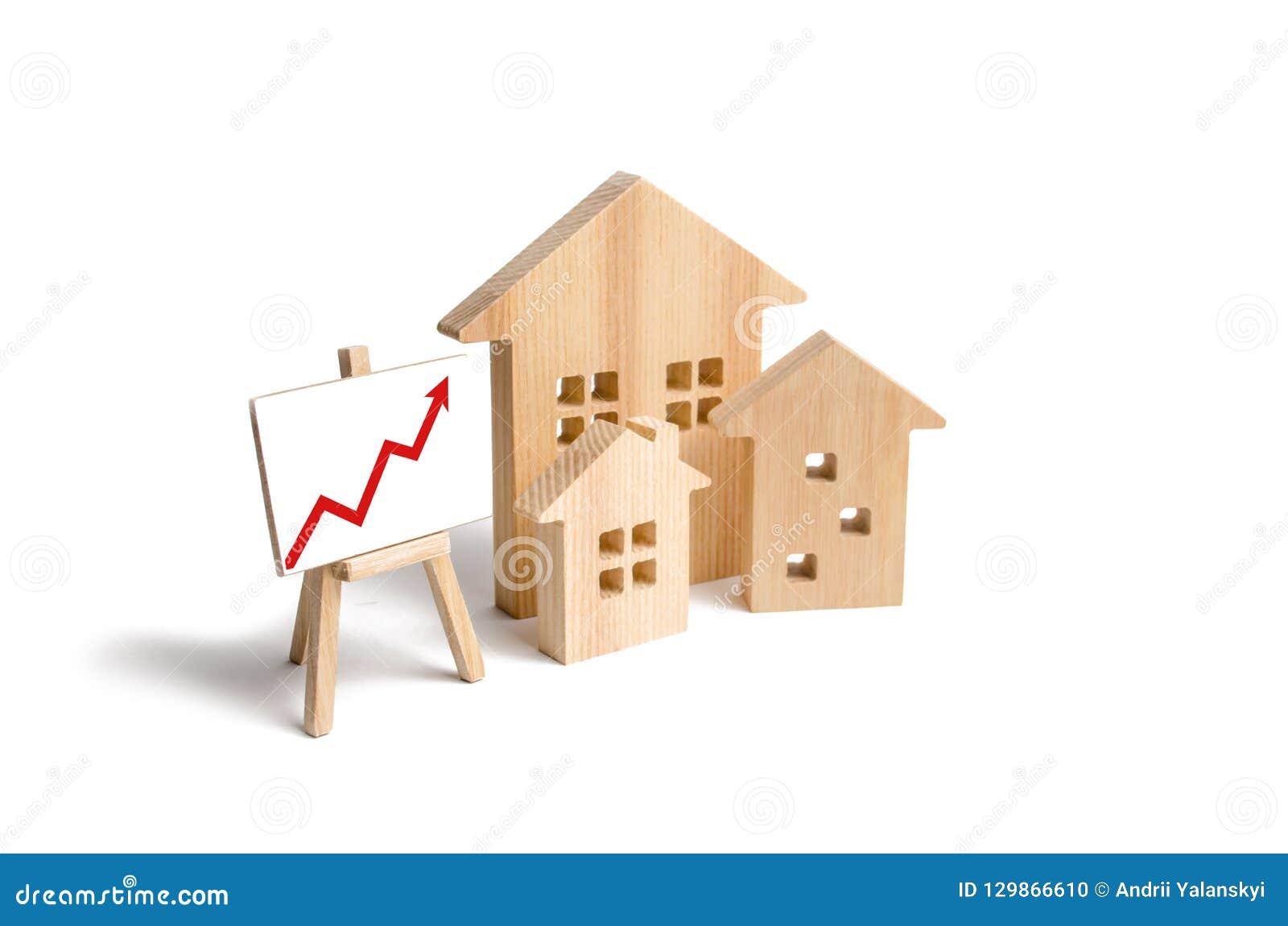 Blokhuizentribune met rode omhoog pijl Groeiende vraag naar huisvesting en onroerende goederen De groei van de stad en zijn bevol