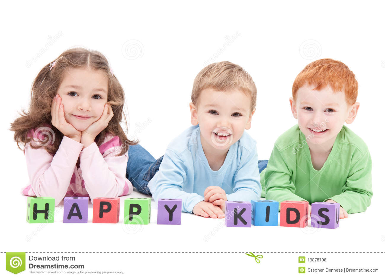 Blokuje szczęśliwych dziecko dzieciaków trzy