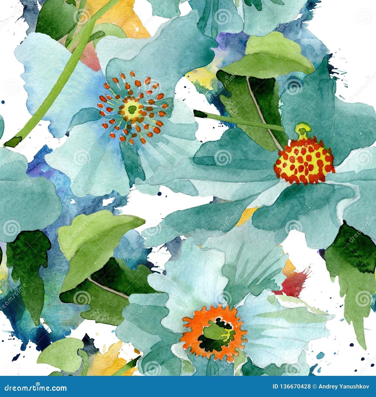 Blom- botanisk blomma för blå vallmo Uppsättning för vattenfärgbakgrundsillustration Seamless bakgrund mönstrar