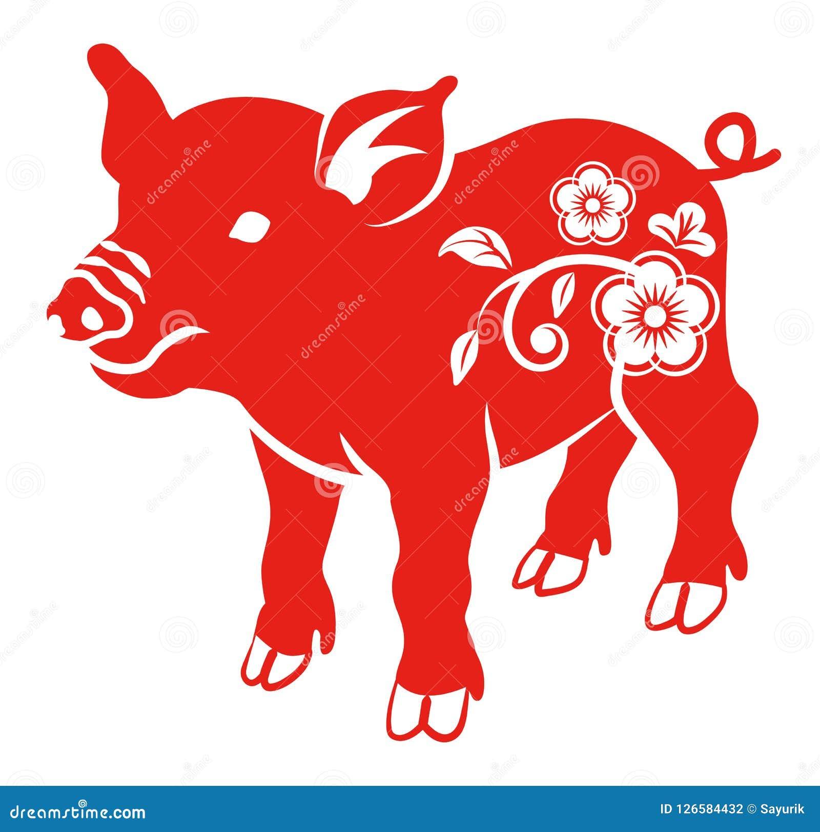 Blom- dekorativt svin, plan gemkonst