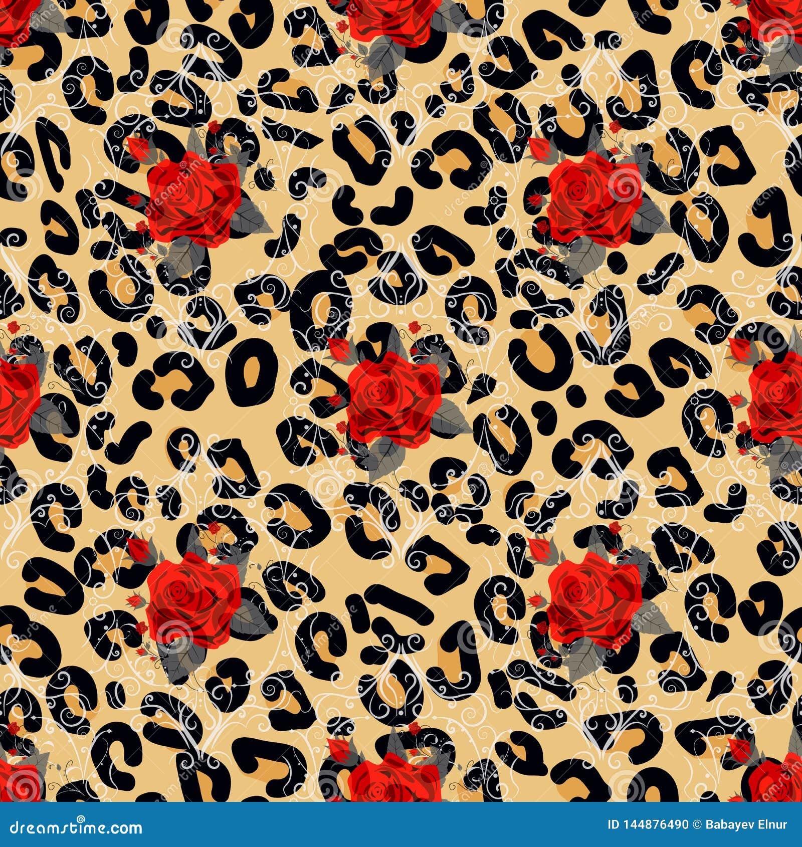Blom- djurt s?ml?st designtryck Leopardtextur och blommabuketter R?d ros, burgundy r?d pion, vit anemon,