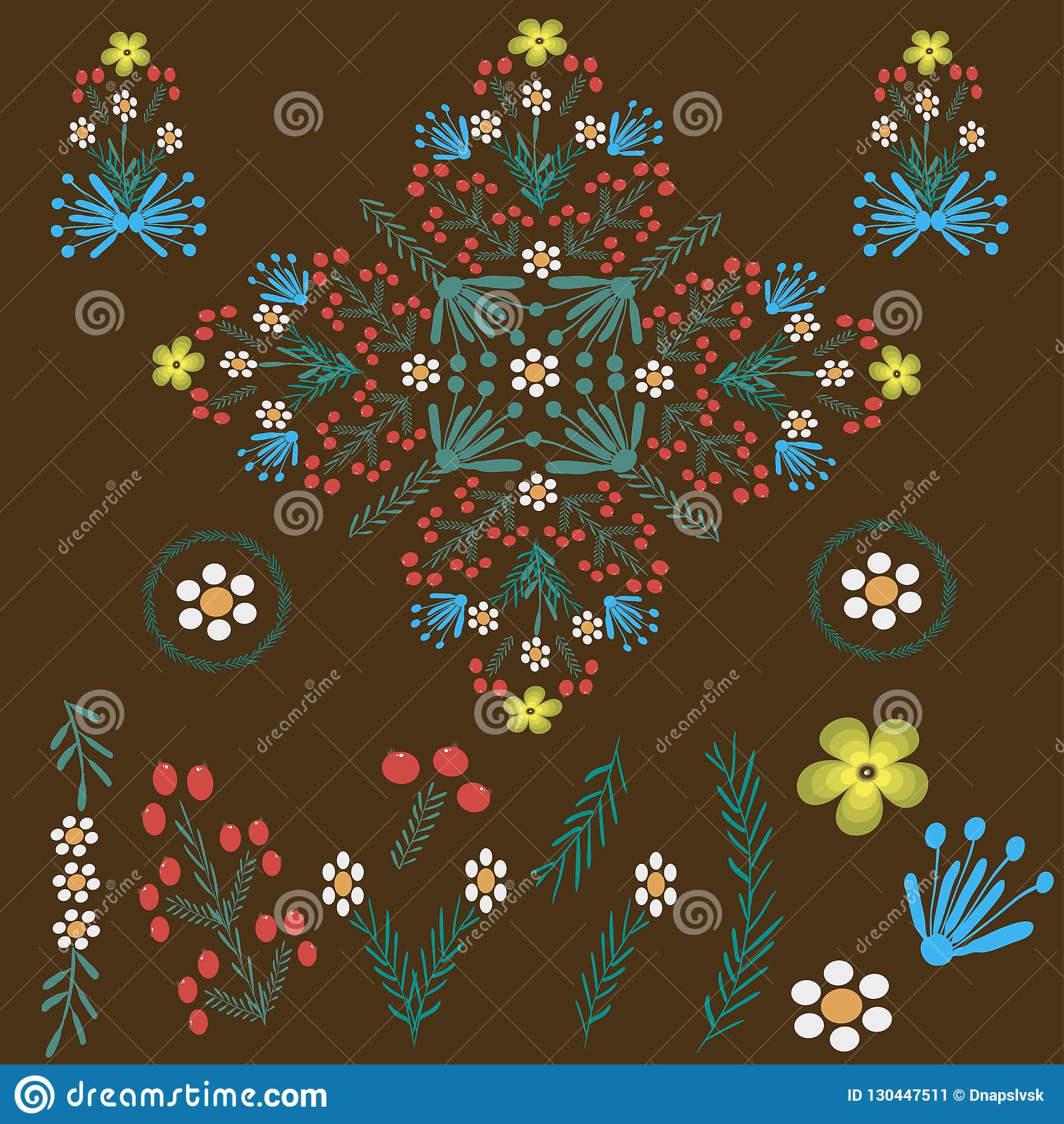 Blom- folk prydnad på en brun färg