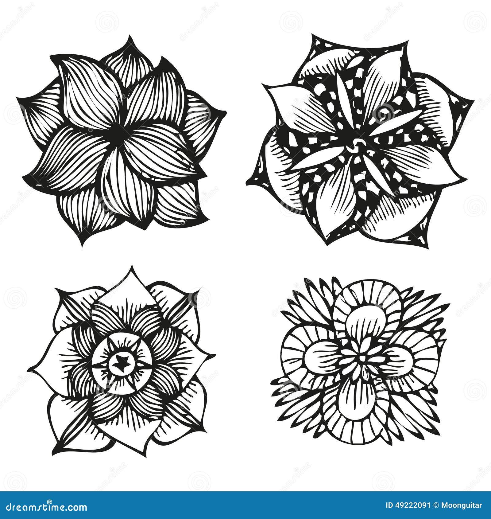 Blom- klottra blommauppsättning i tatueringstil