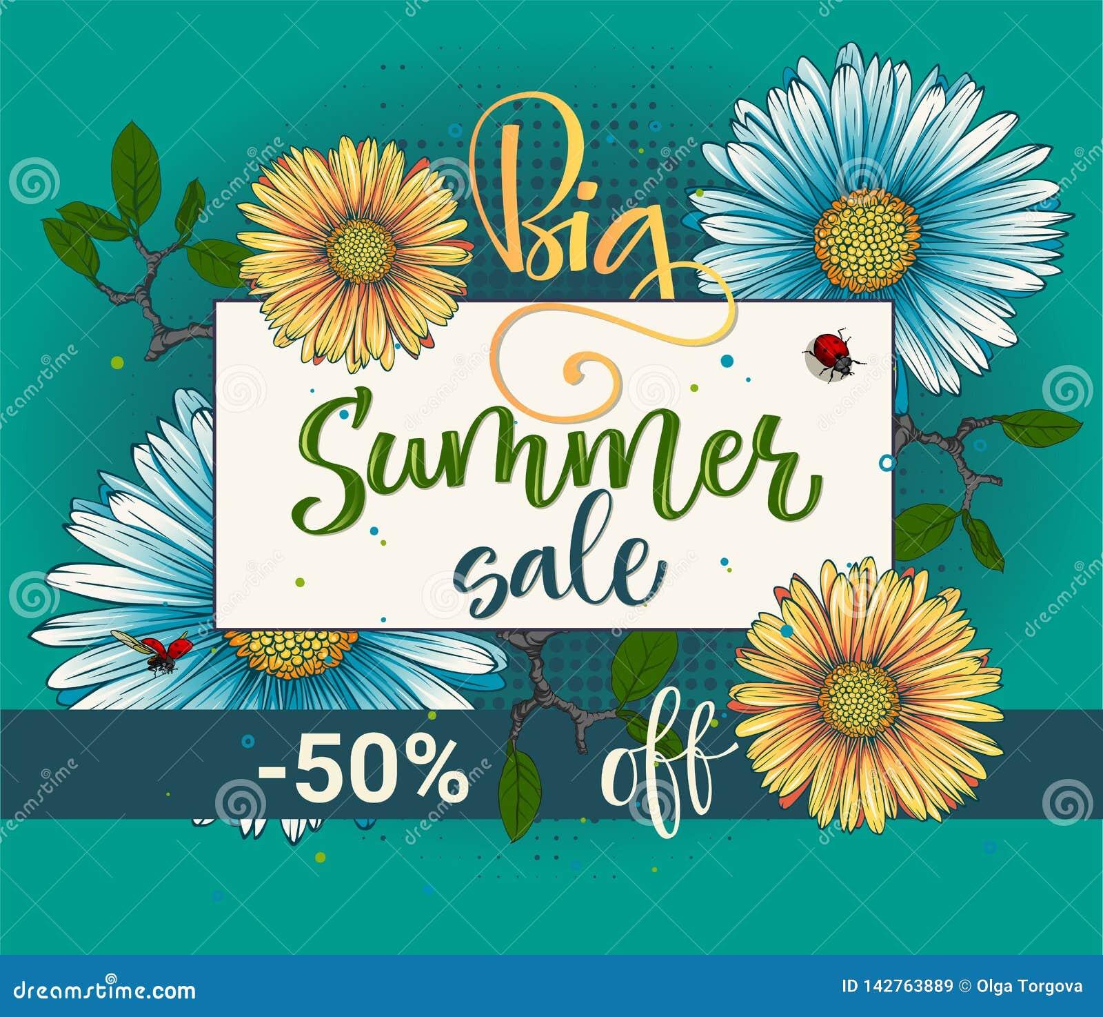 Blom- modell för stor för sommarförsäljningsvektor kalligrafi för färg