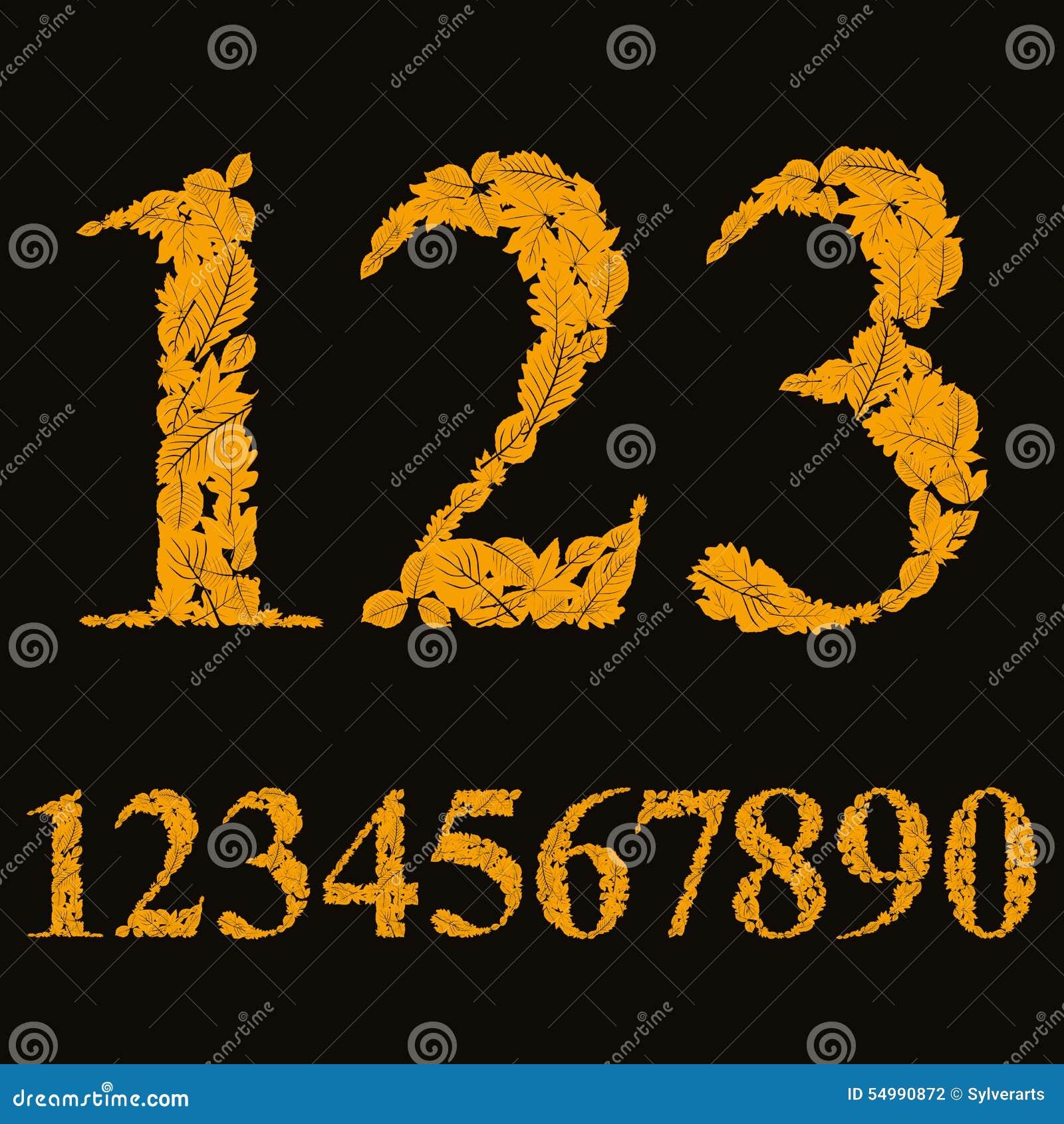 Blom- nummer som gjordes med sidor, naturliga tal, ställde in, vektorn de