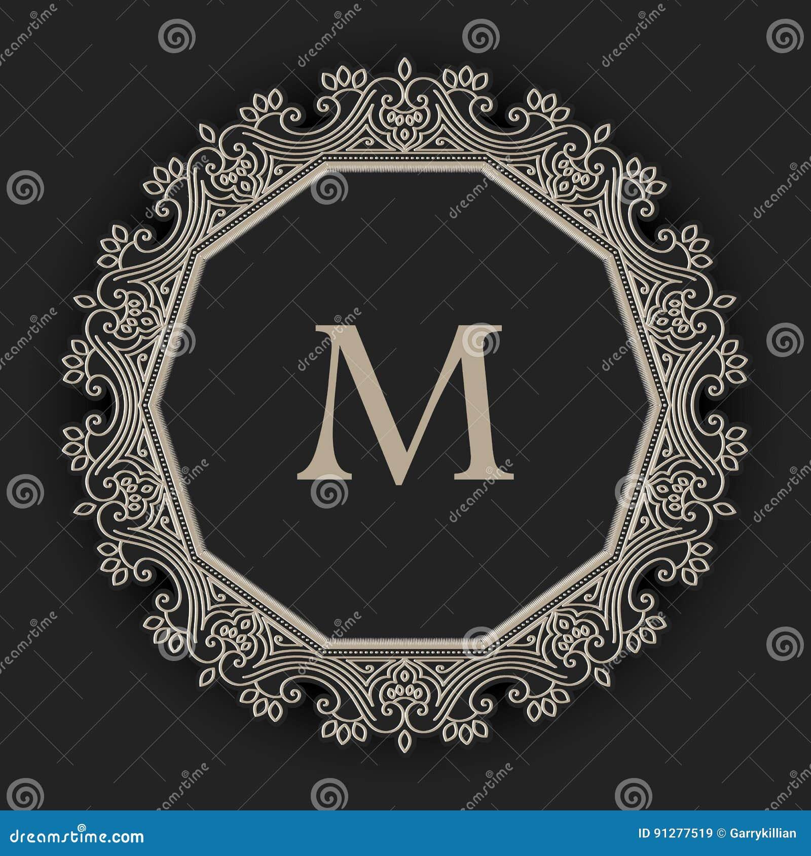 Blom- och geometrisk monogramram för vektor på mörker - grå bakgrund Monogramdesignbeståndsdel