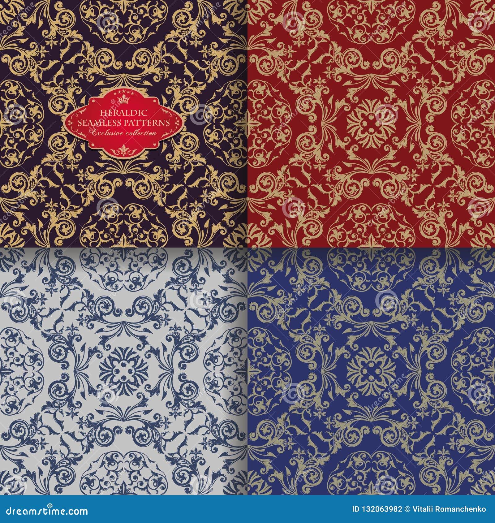 Blom- prydnad för sömlös tappning Östliga kulöra heraldiska modeller Guld- sidor och liljor Asiatisk stil