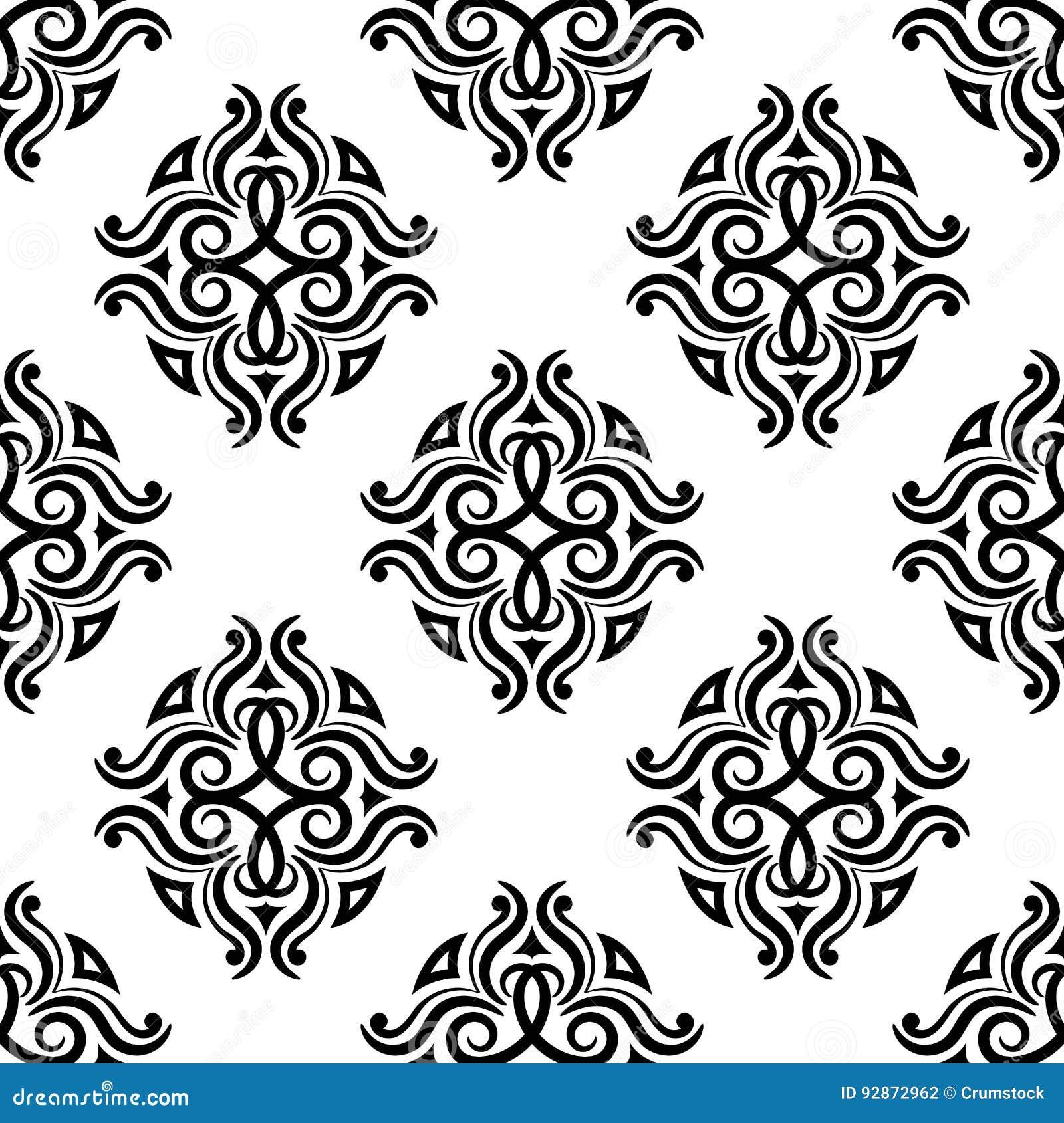 Blom- prydnadtappning för dekorativa element Svartvita sömlösa modeller för tyg och tapet