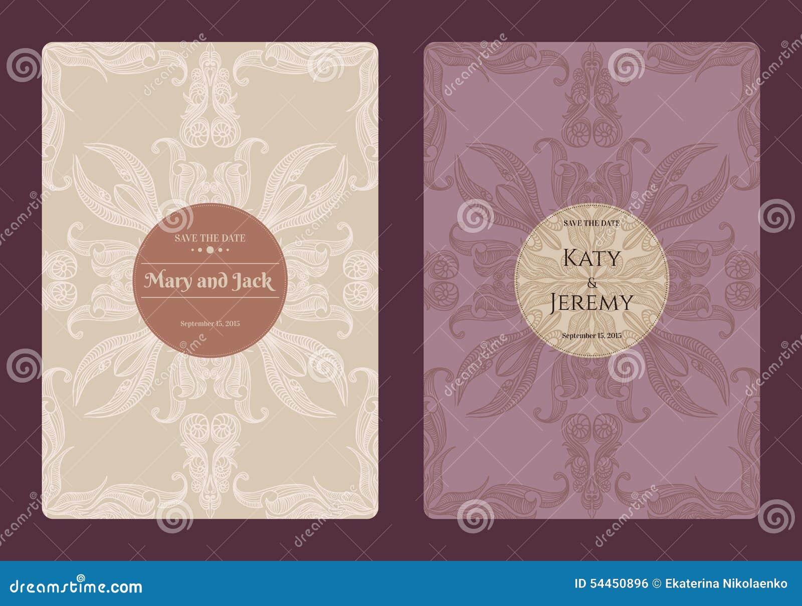 Blom- räddning för tappning samlingen för datum- eller bröllopinbjudankort Romantisk kortmall för Retro vektor