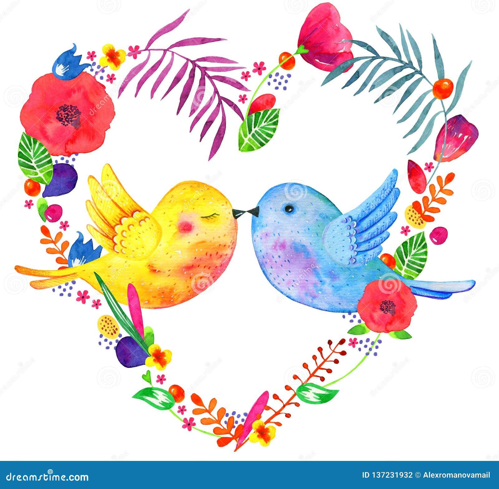 Blom- ram för hjärtaform med att kyssa fågelpar Skissar den utdragna illustrationen för vattenfärghanden med dekorativt växter oc