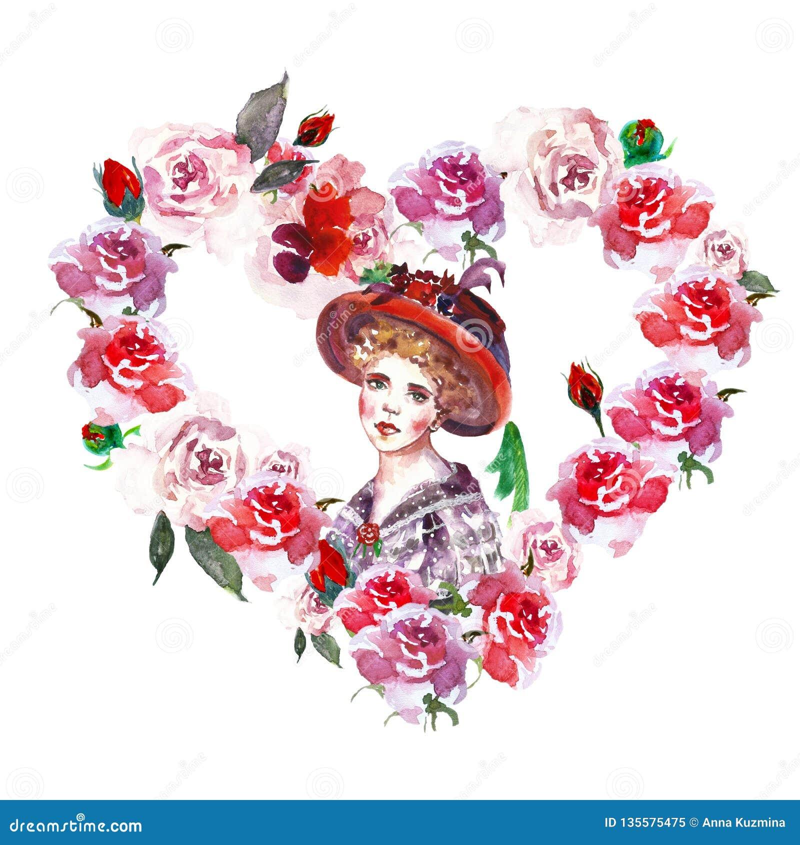 Blom- ramgräns för vattenfärg med den härliga kvinnaståenden i tappningstil utdragen illustration för hand av hjärtakransen med r