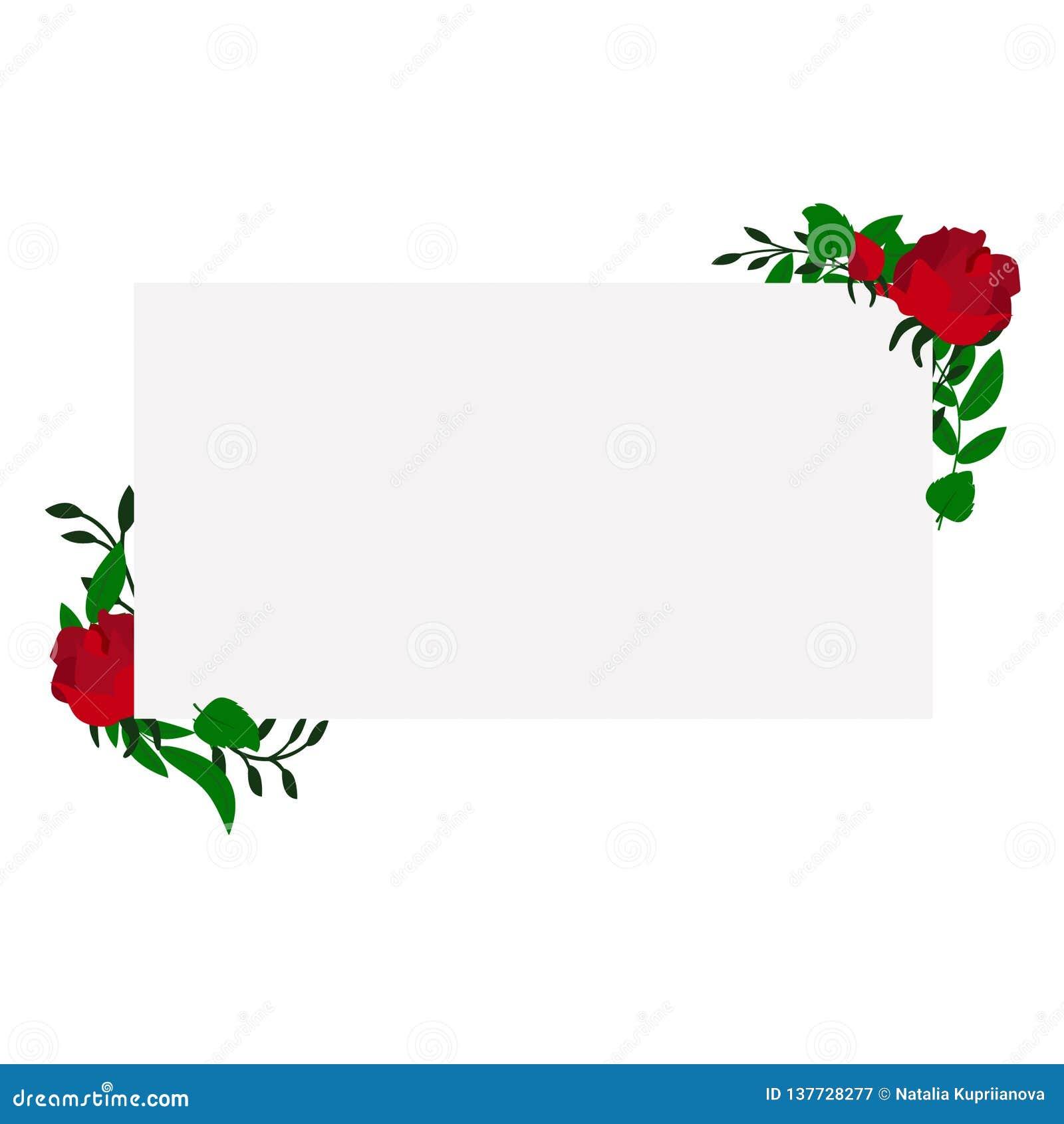 Blom- rektangulär ram för vektor med rosor