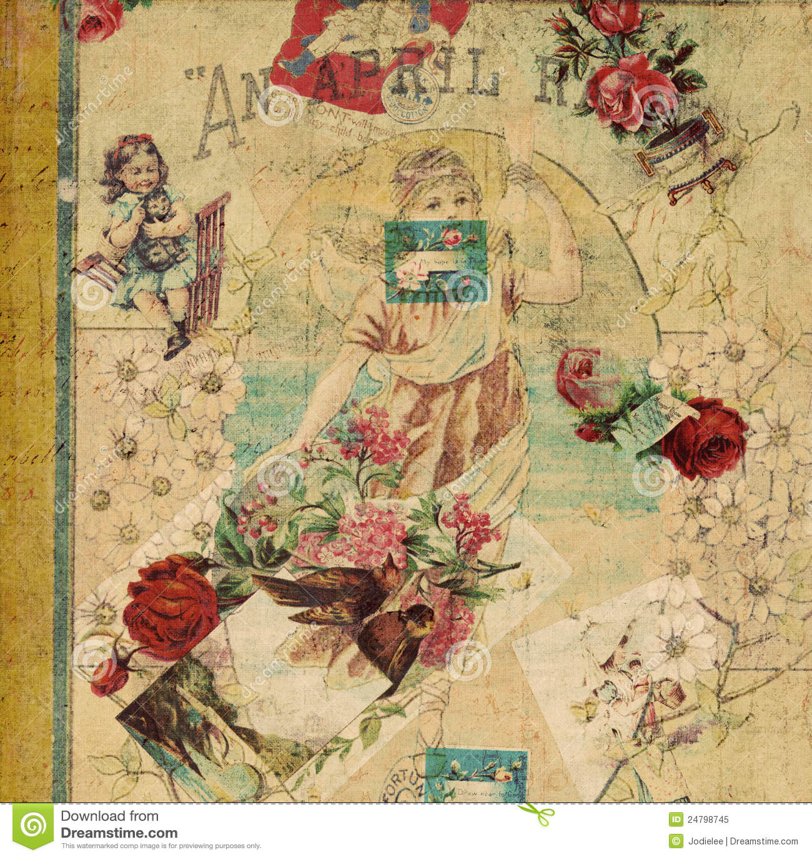 Blom- resttappning för antik collage