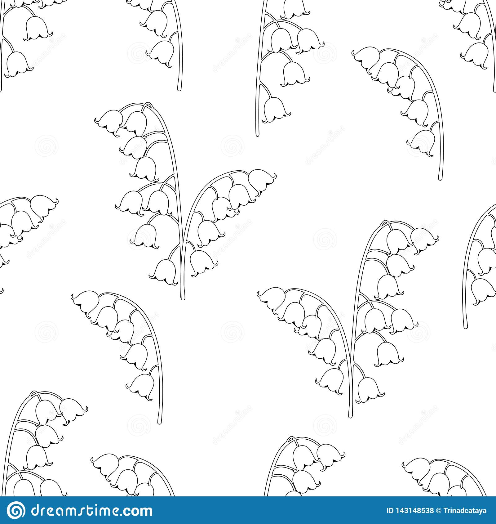 Blom- sömlös modell för liljekonvalj, svartvit teckning, färgläggning, vektorillustration Blåklockor för översiktsknoppblommor