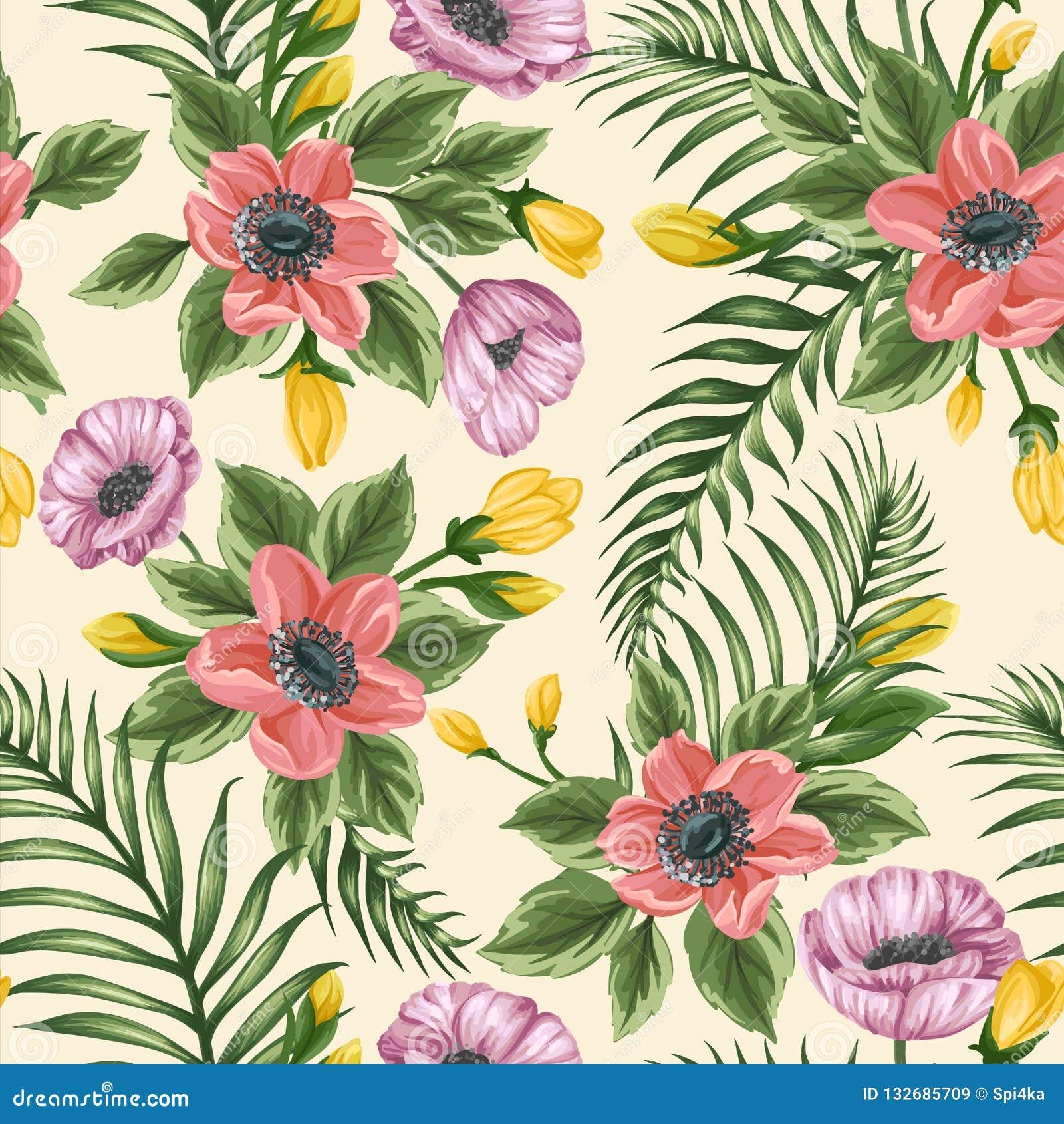 Blom- sömlös modell med anemoner och vallmo
