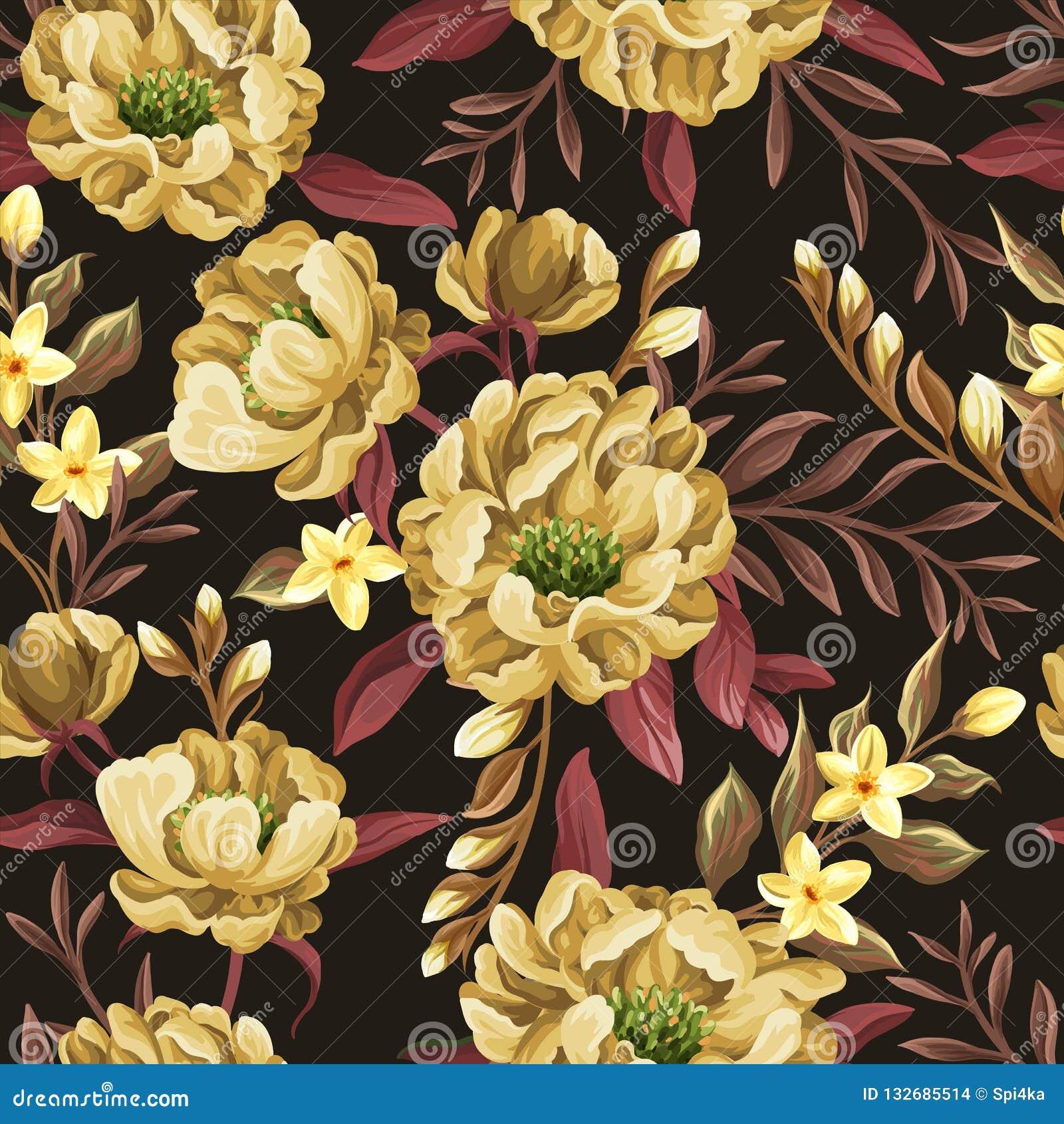 Blom- sömlös modell med gula pioner
