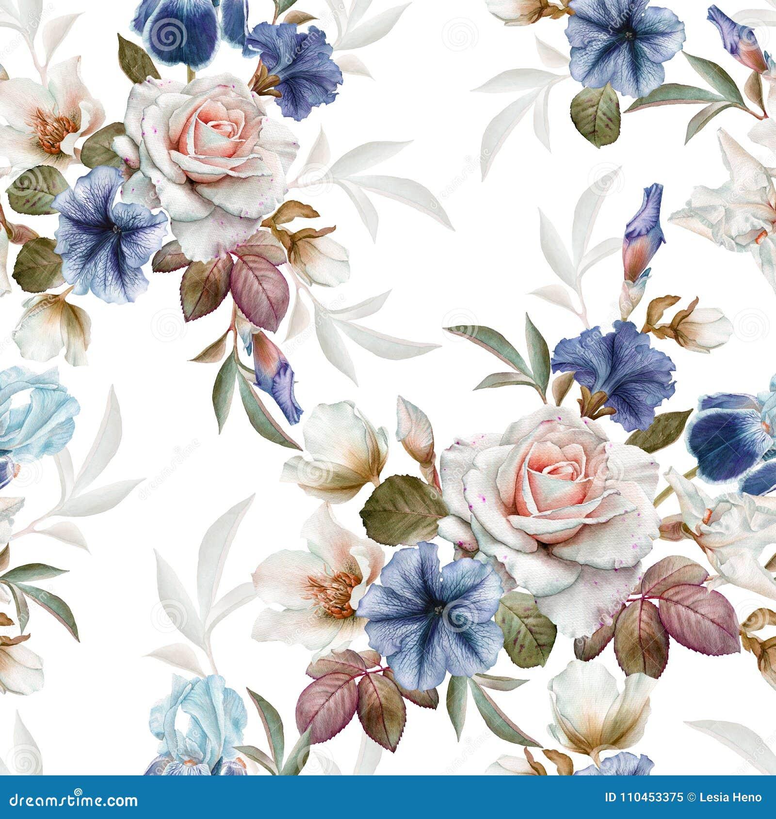 Blom- sömlös modell med petunior, helleboren, rosor och iriers