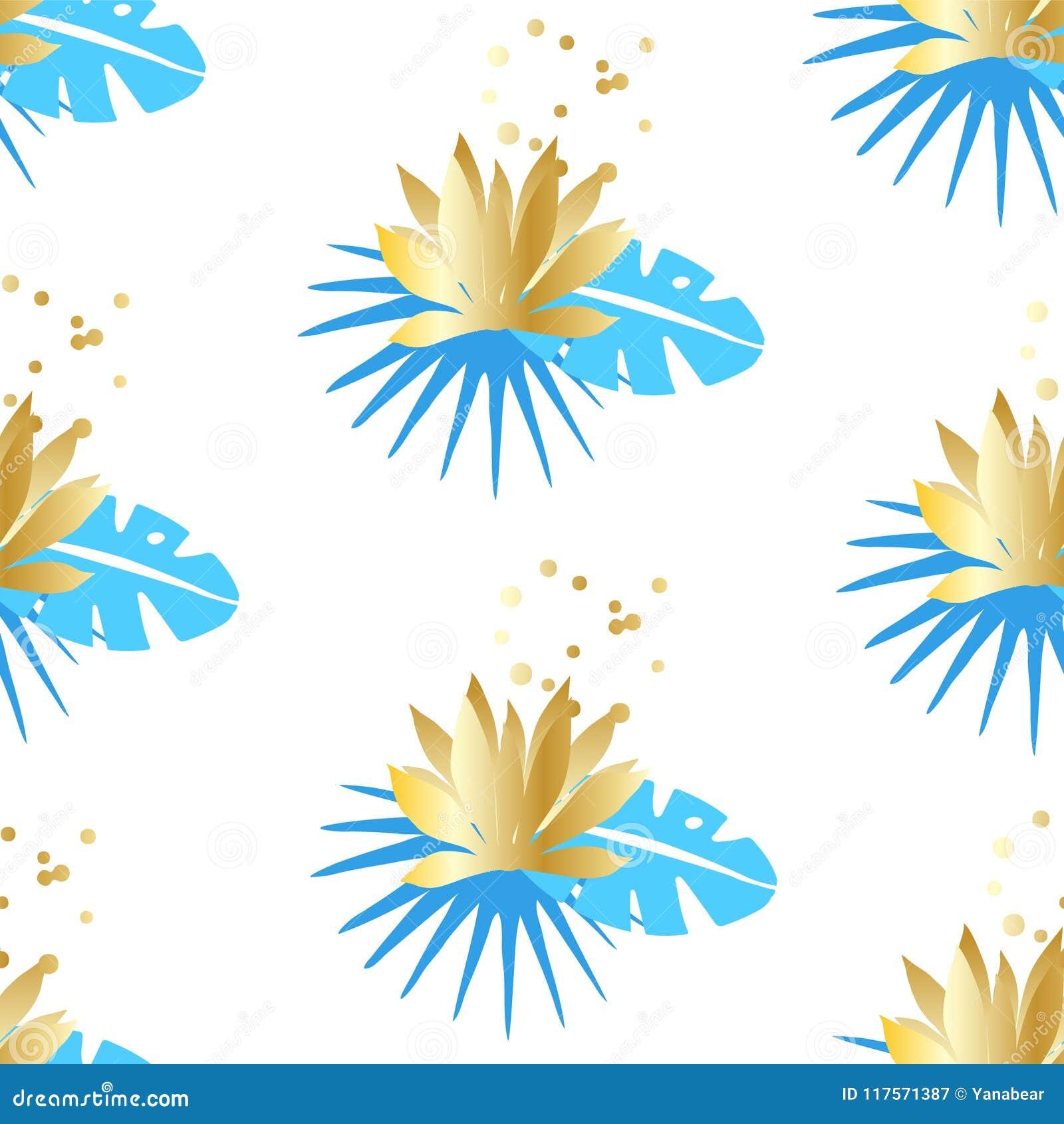 Blom- sömlös modell med tropiska sidor och guld- lotusblommor på en vit bakgrund Prydnad för textil och inpackning vektor