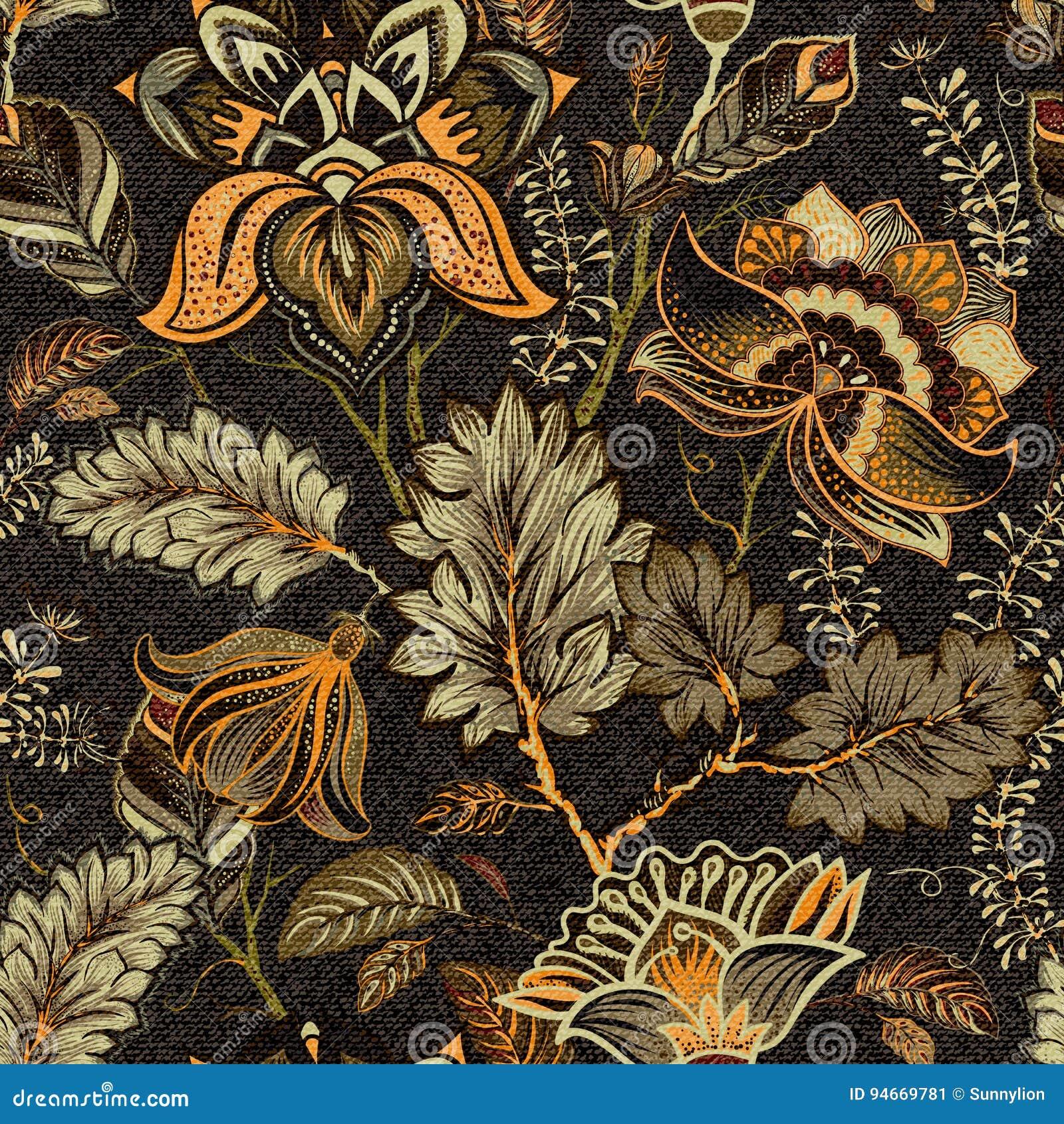 Blom- sömlös modell, textureffekt indisk prydnad Dekorativa blommor och Paisley för vektor Etnisk stil Design