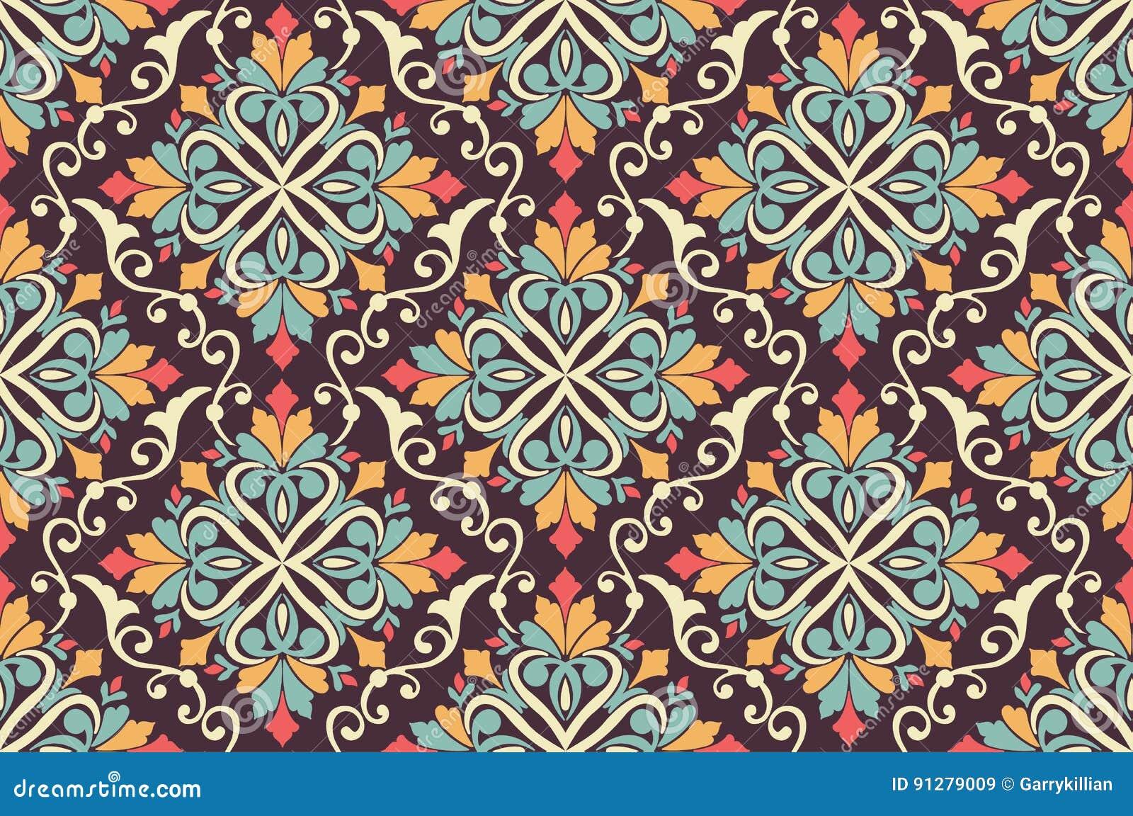 Blom- sömlös modellbakgrund för vektor i arabisk stil Arabesquemodell Östlig etnisk prydnad