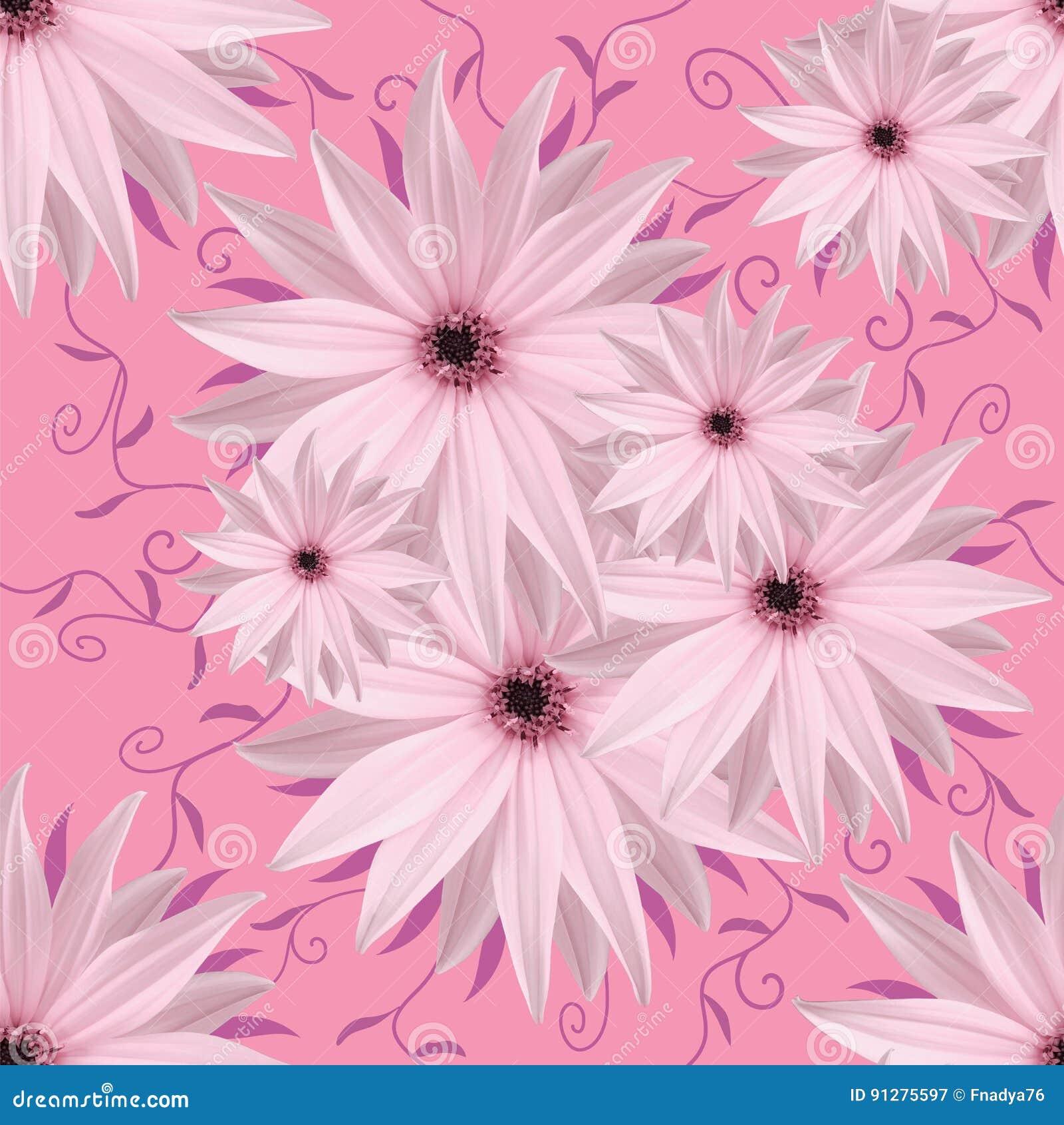 Blom- sömlös oändlig bakgrund Vit-lilor blommor för design och printing Bakgrund av naturliga blommor