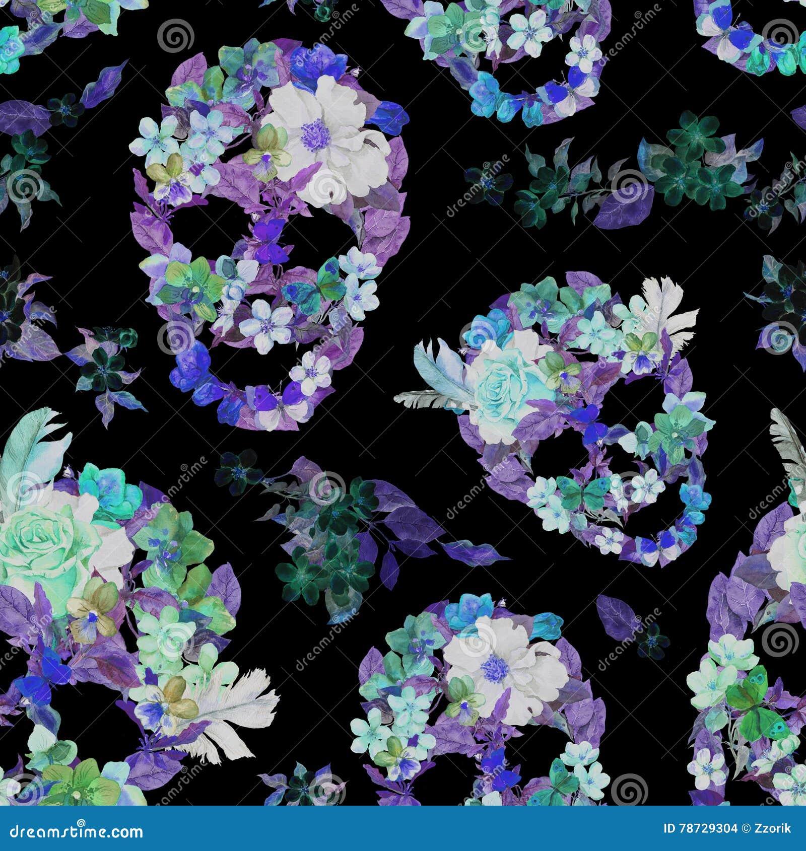 Blom- skallar med blommor seamless modell vattenfärg