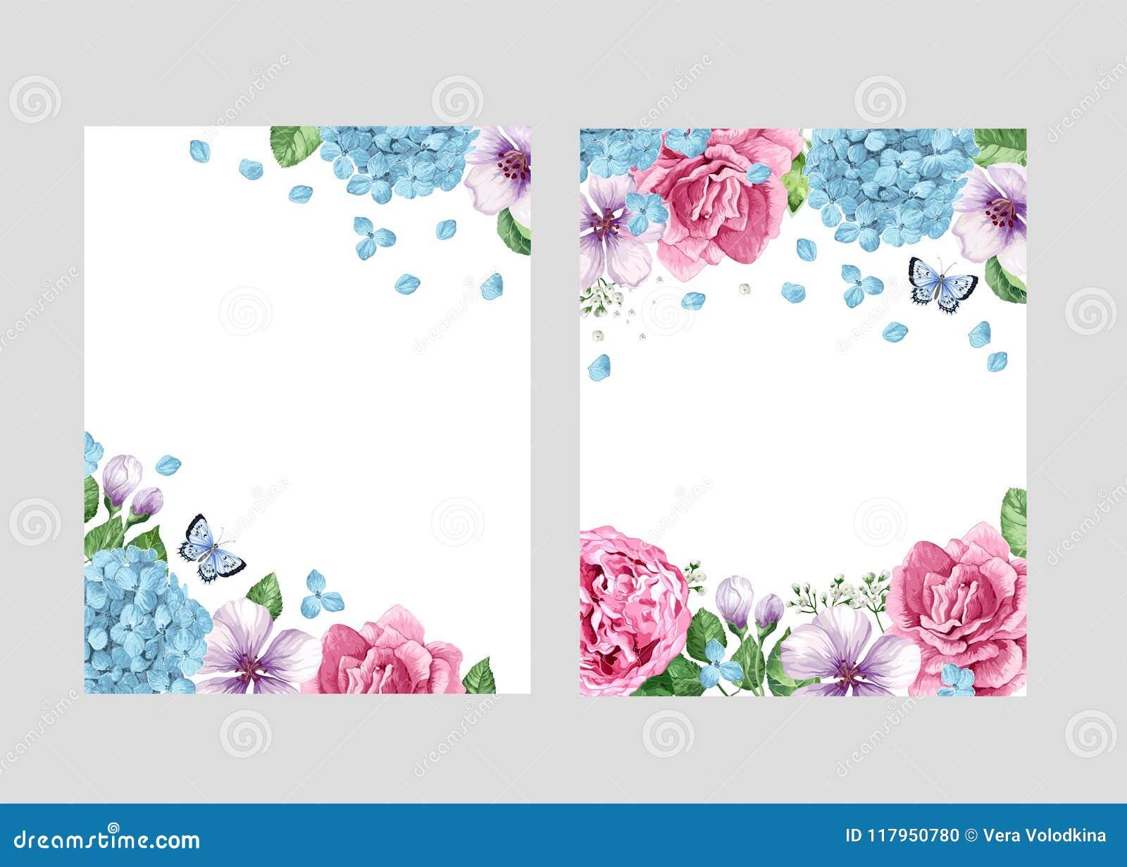 Blom- tom malluppsättning Blommor i vattenfärg utformar isolerat på vit bakgrund för rengöringsdukbaner, polygraphyen som gifta s
