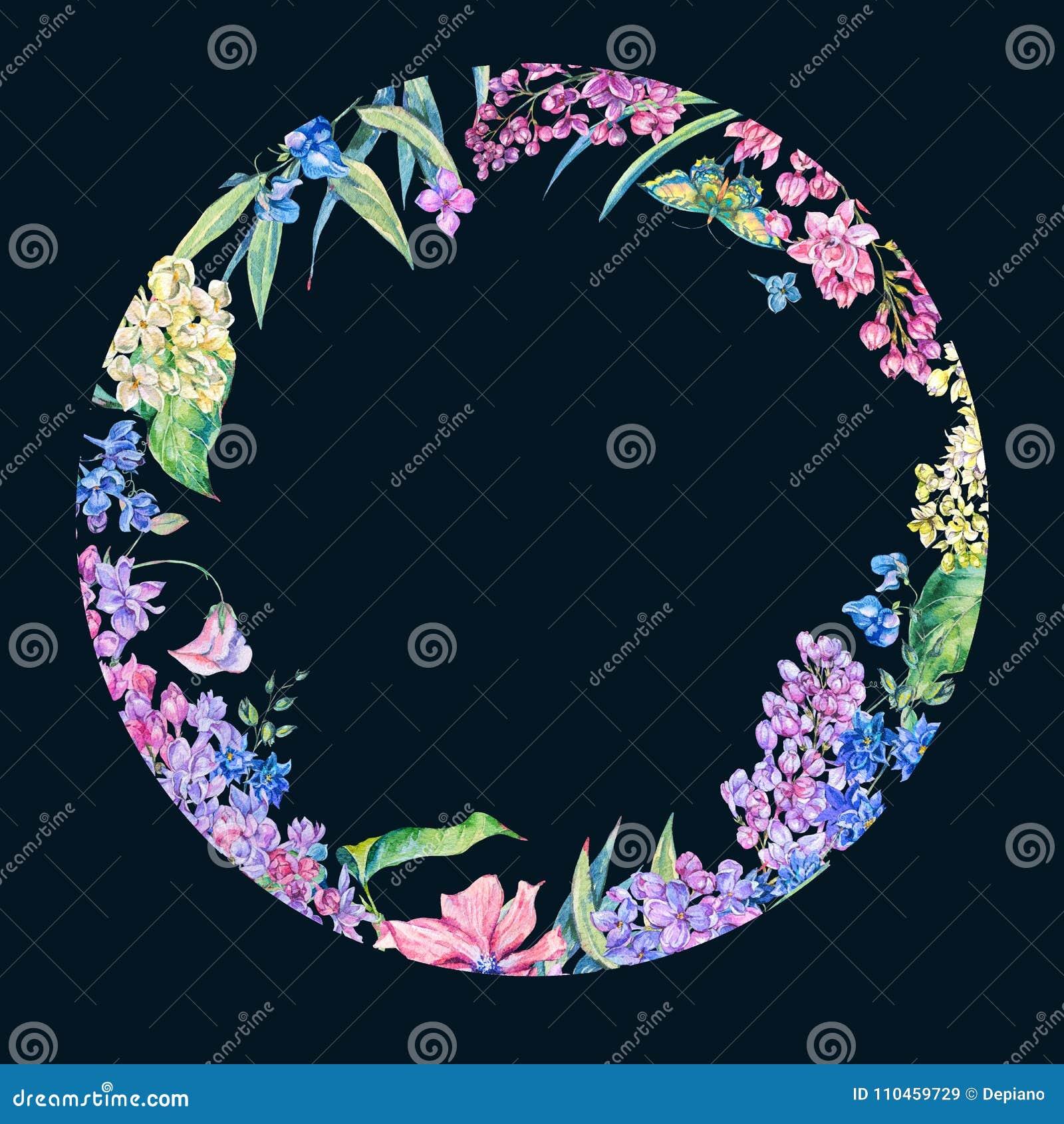 Blom- vårkrans för vattenfärg, blommande lila