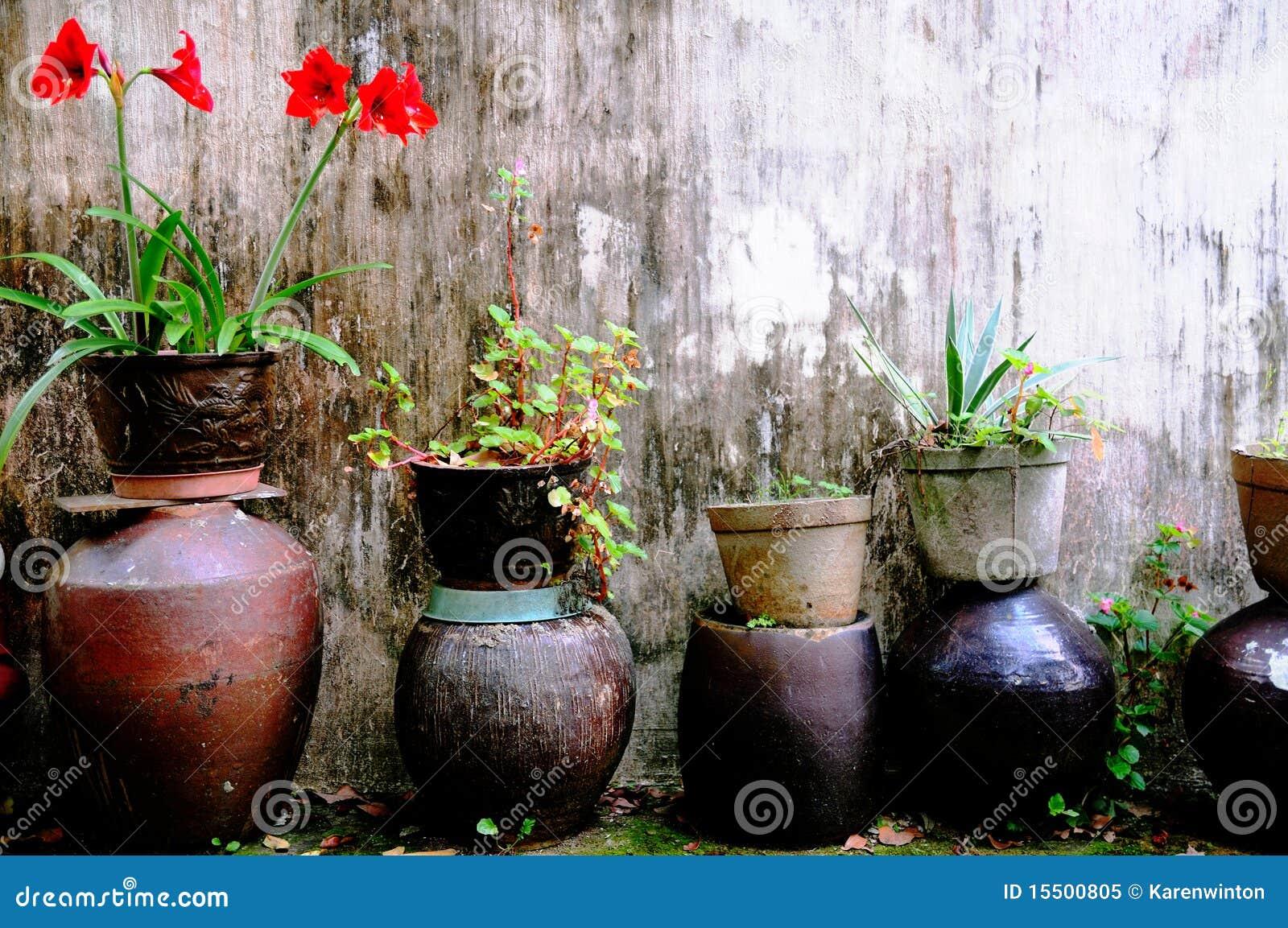 Blomkrukar arbeta i trädgården växter
