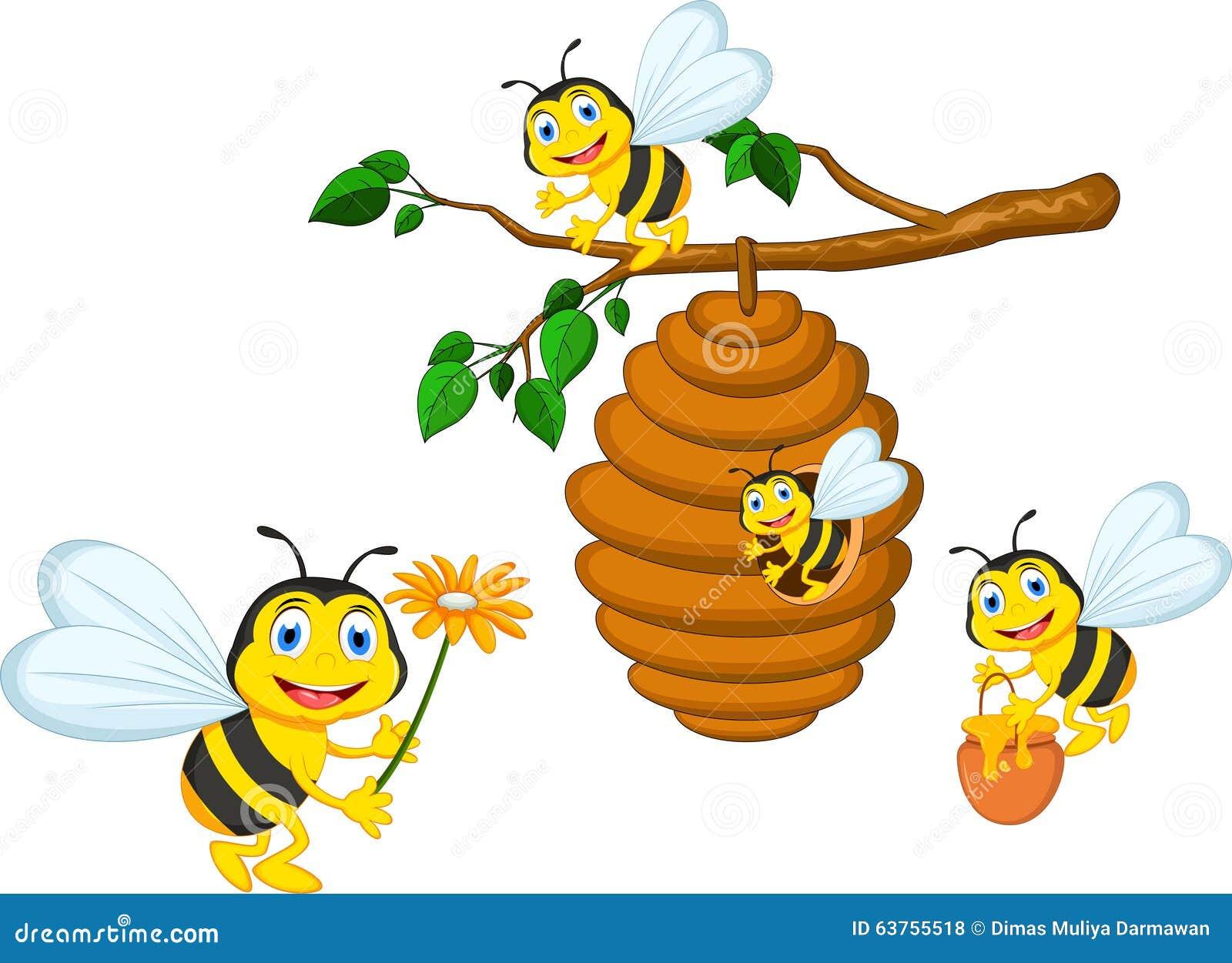 Blomma för bitecknad filminnehav och en bikupa