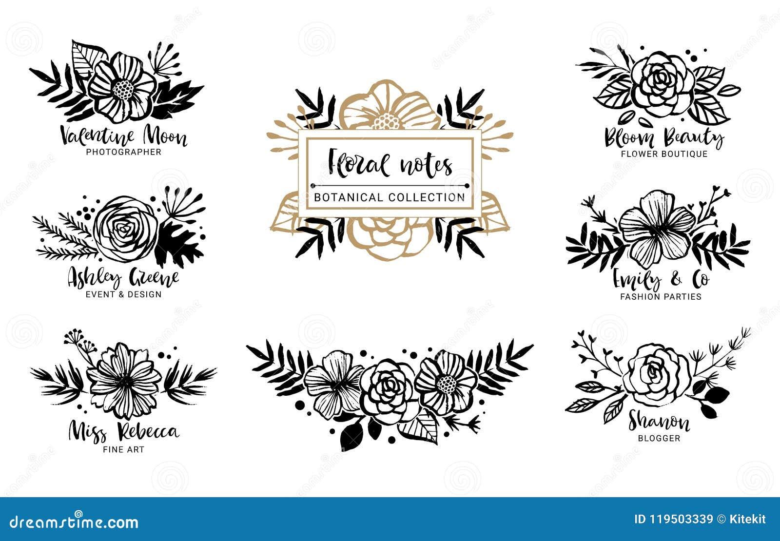 Blomma Logo Template Blom- botanisk samling Blommor kli