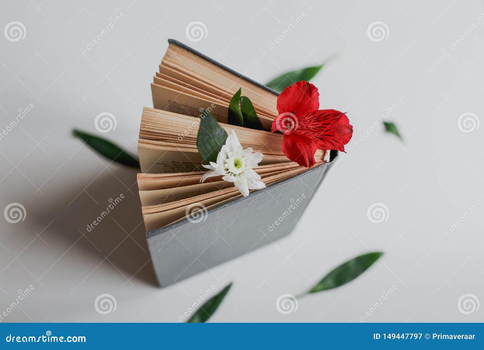 Blomma mellan sidorna av boken