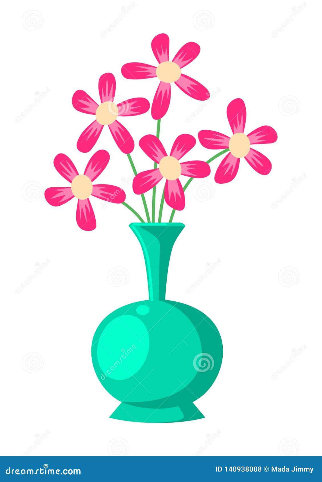 Blomma- och vasillustrationvektor