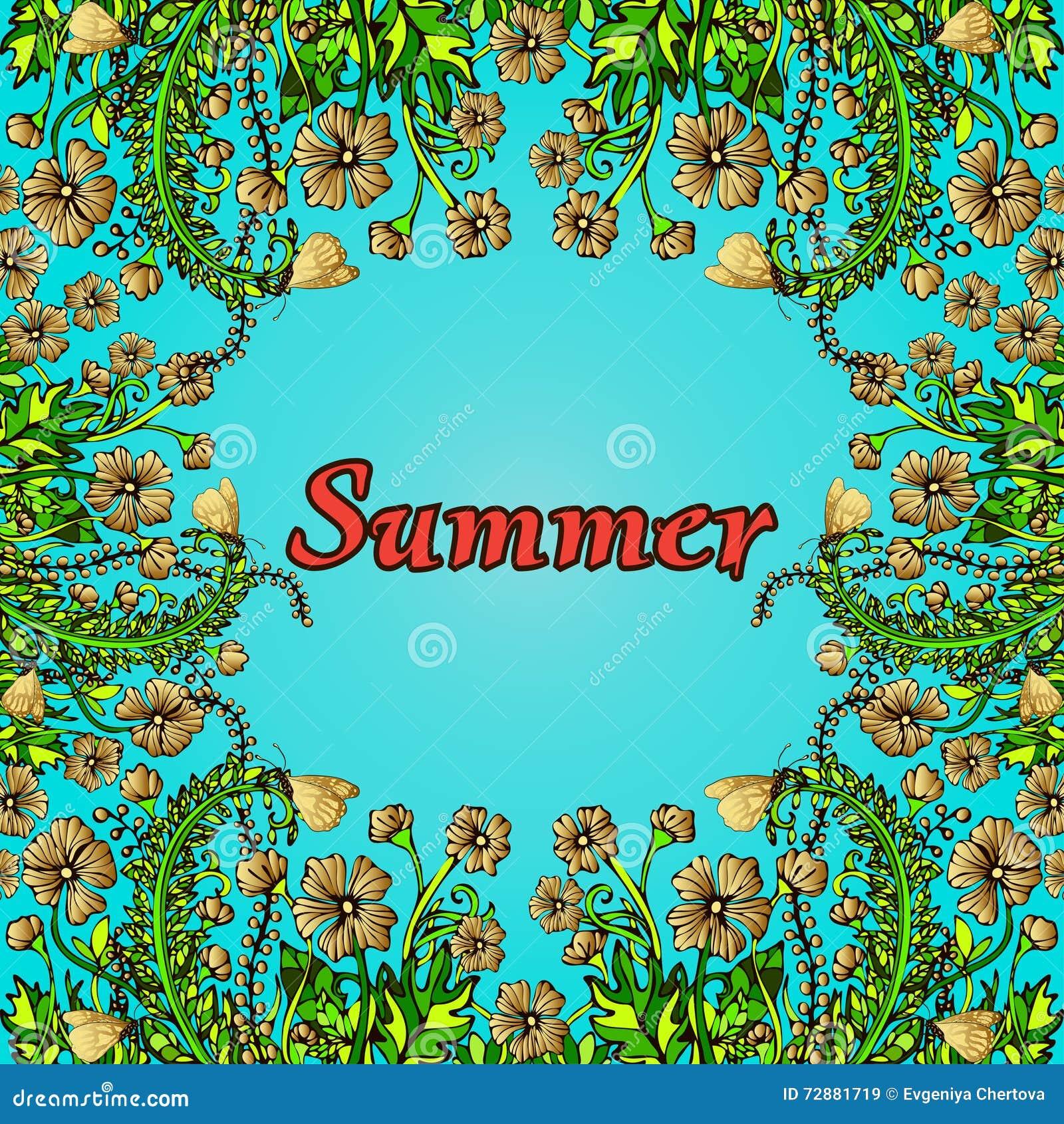 Blomma ramen, den guld- gränsen, kortet, sommarprydnaden i stilbohostilen, hippie Abstrakt guld blommar på en blå bakgrund