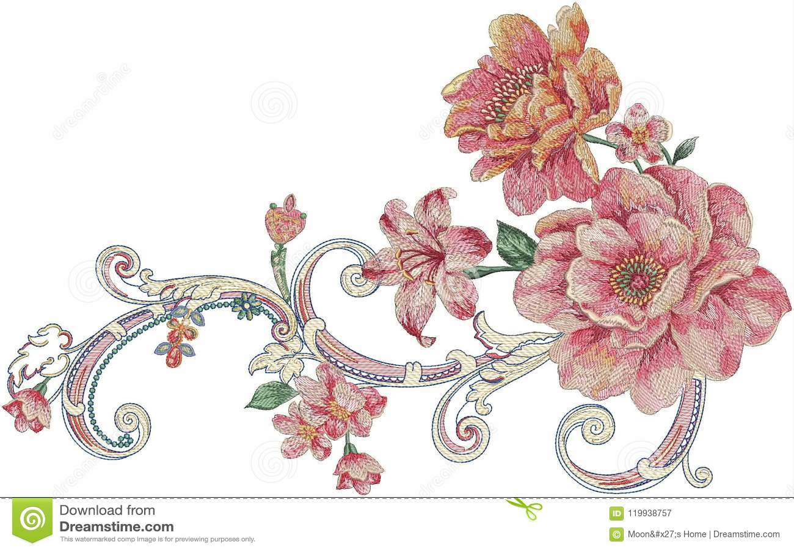 Blommaillustrationmodell i enkel bakgrund