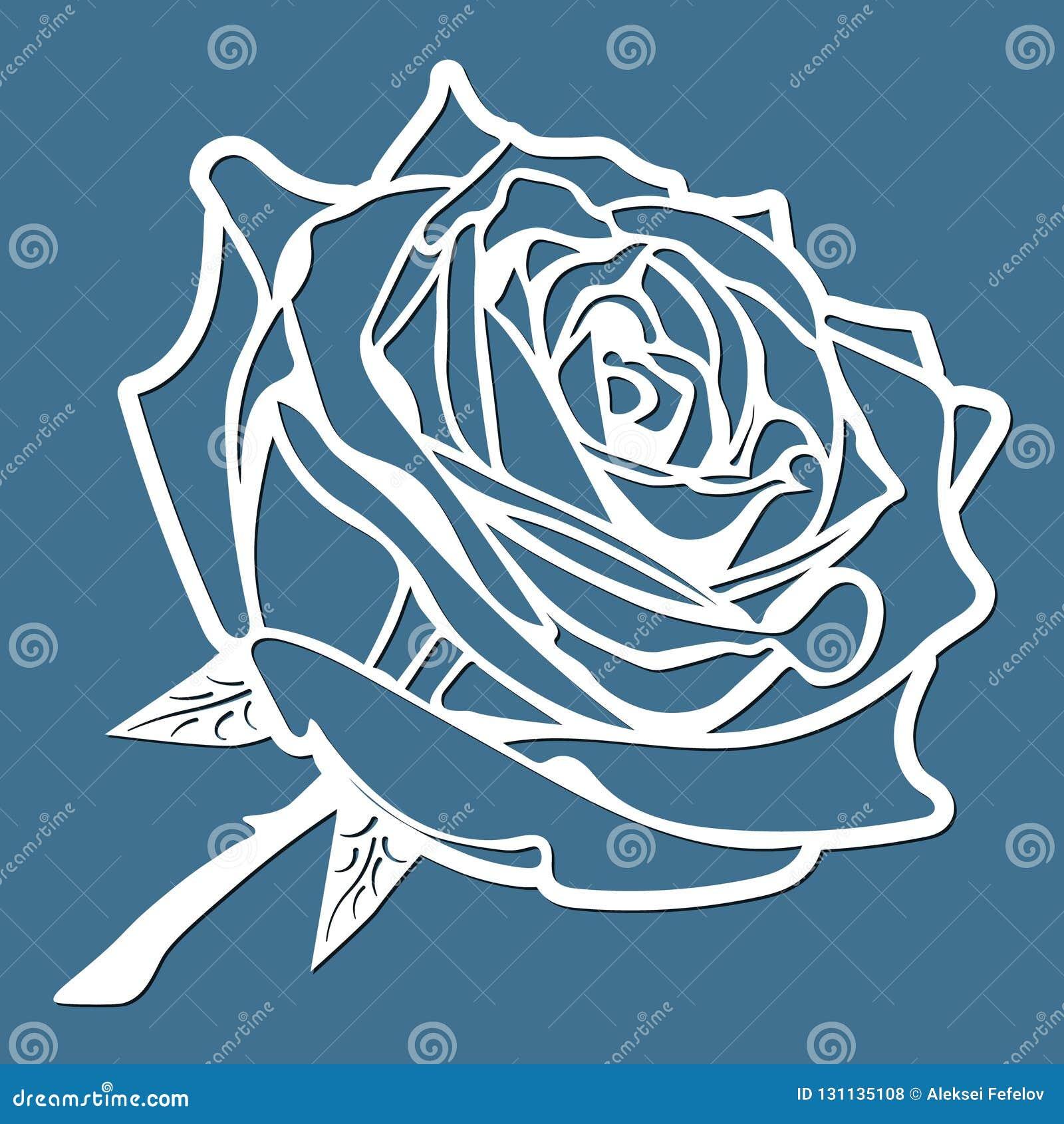 Blomman steg, laser klippte blomman, mallen för att klippa, beståndsdelen för kortdesignen, gåva på valentins dag, förälskelsebok