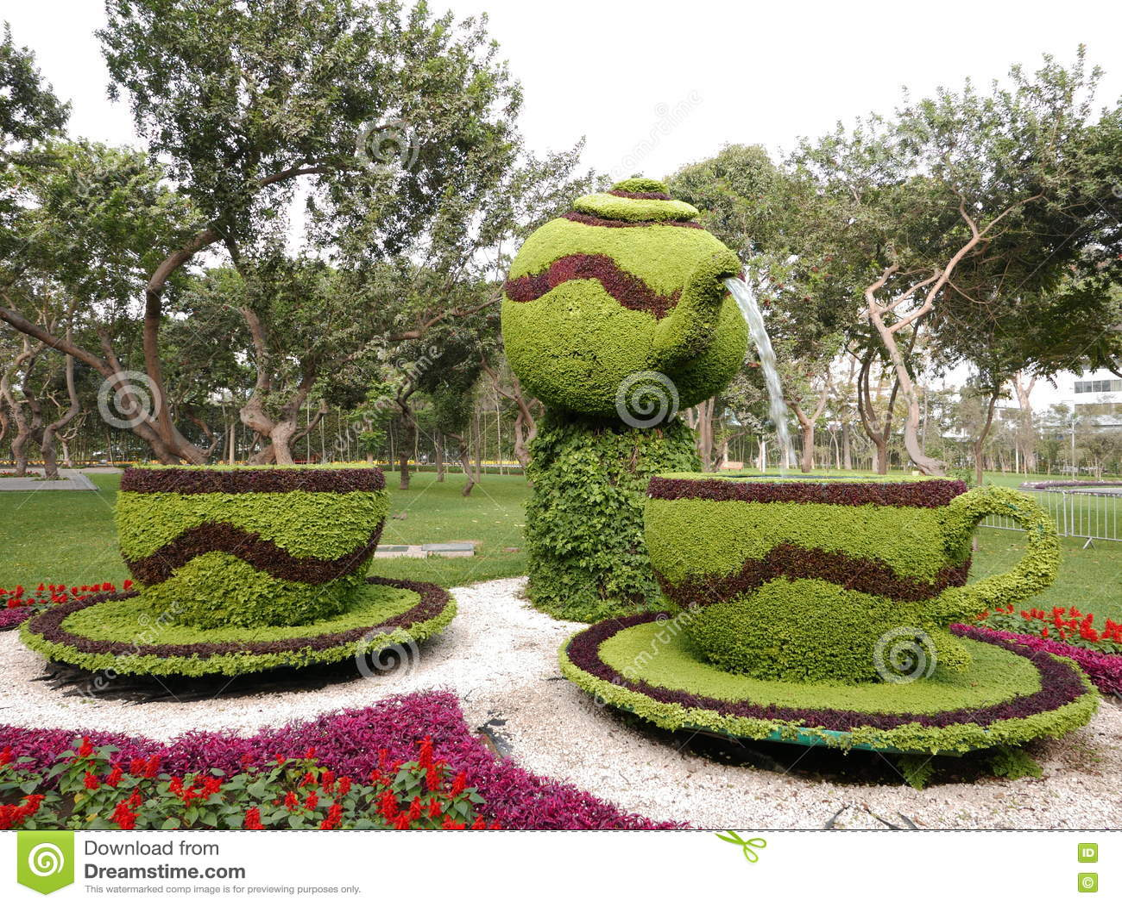 Blommaordning i Lima Reserve Park, Peru