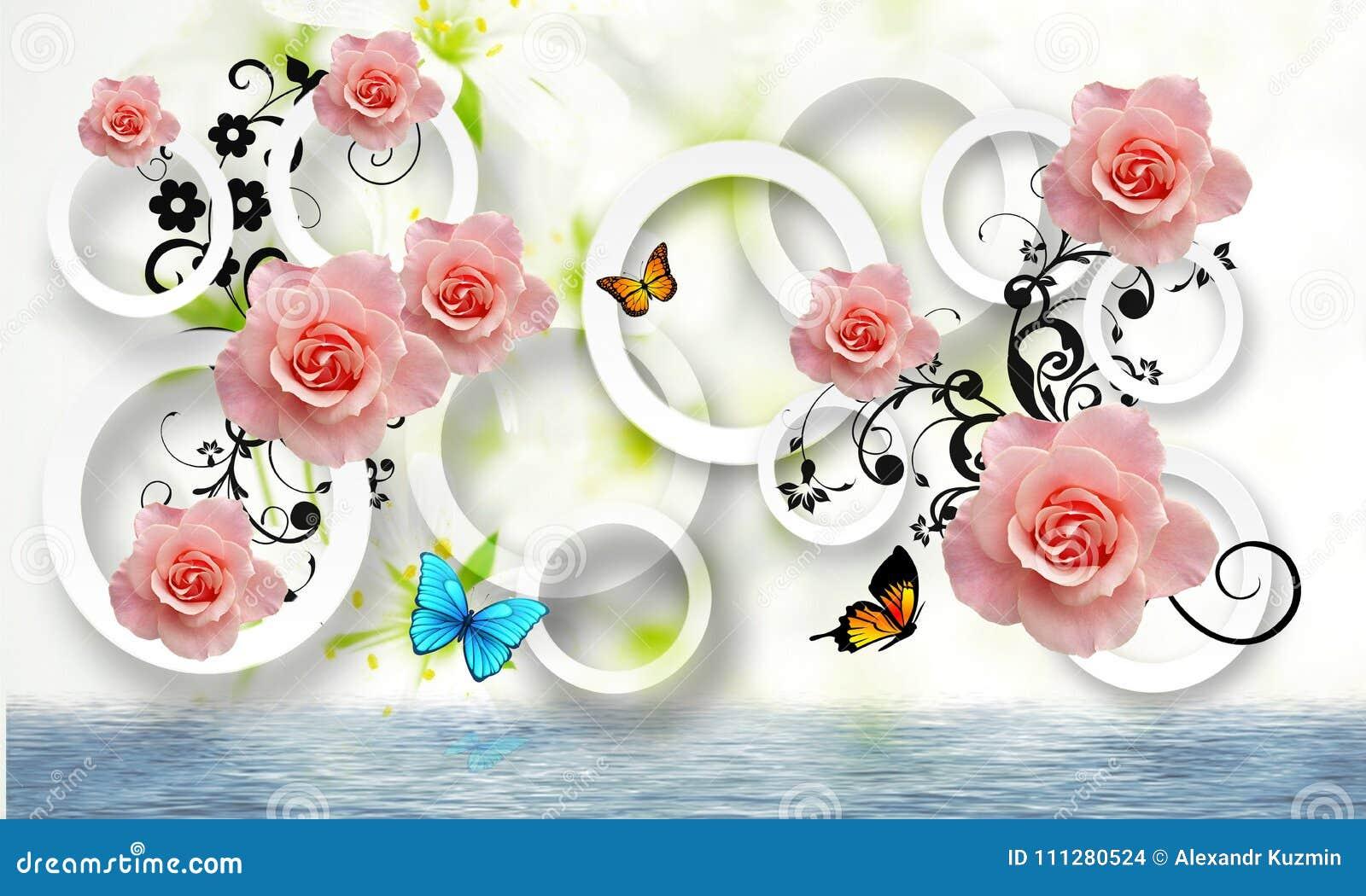 Blommar abstraktion Fototapet för väggarna framförande 3d